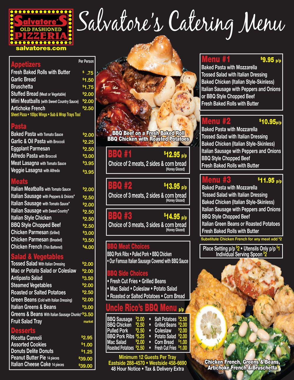 Salvatore's Catering Menu Rochester NY