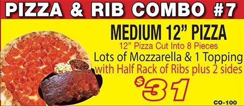 Salvatore's medium pizza and rib combo