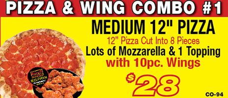 Salvatore's medium pizza & wing combo