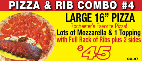 Salvatore's large pizza & rib combo