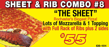 Salvatore's sheet pizza & rib combo