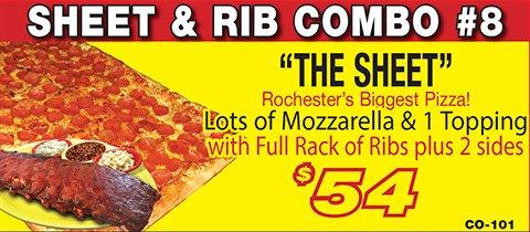 Salvatore's sheet pizza & rib combo
