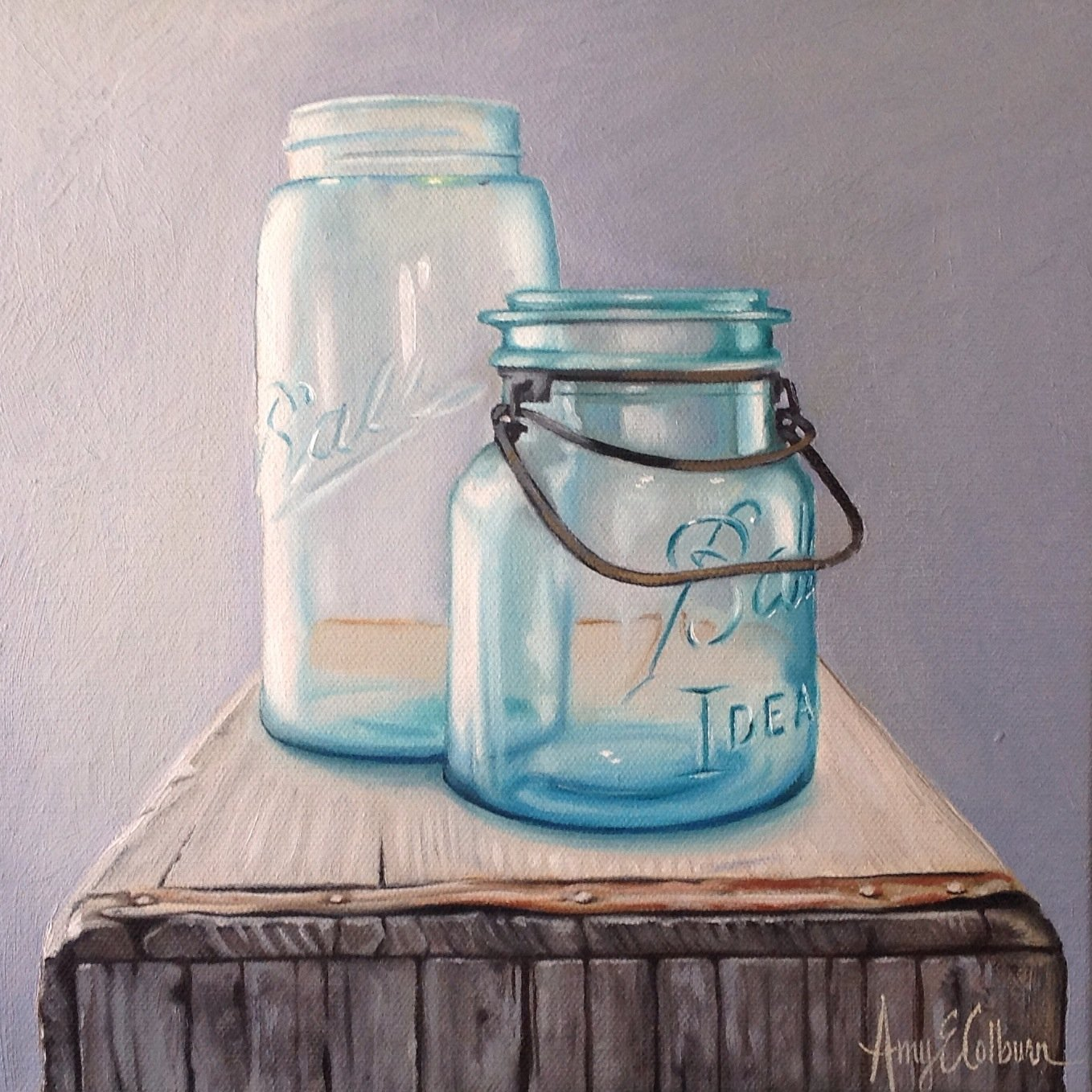 """Ball Jars, Crate"" - SOLD"