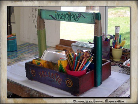 Art caddy repurposed from a tool box