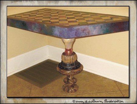 Table leg in room.