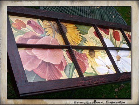 Vintage window transformed into wall art