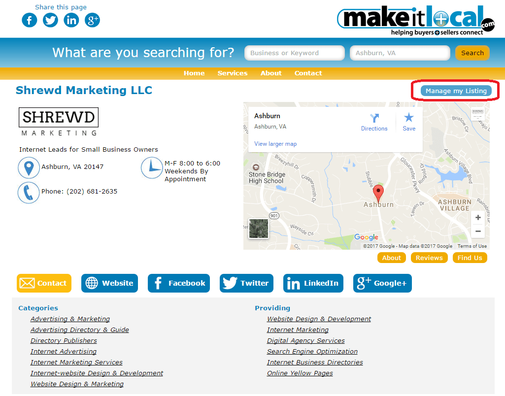 Manage My Listing Button