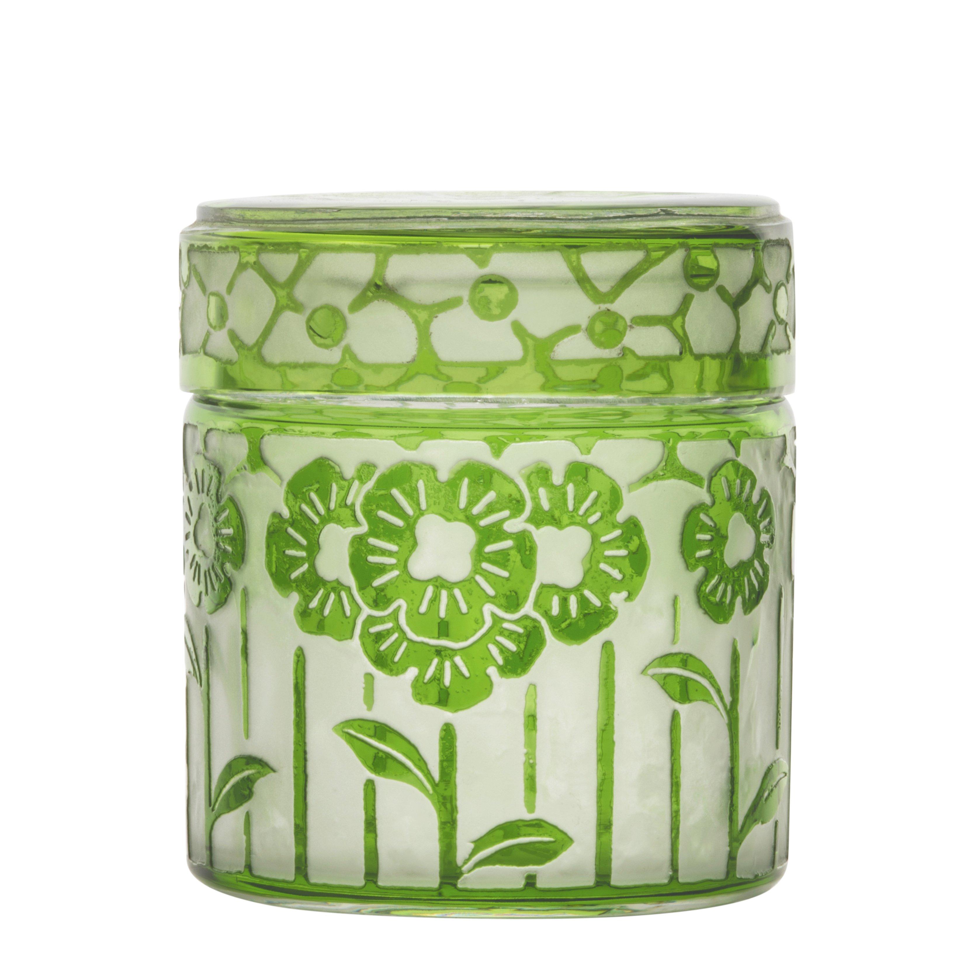 An Antique French Green Acid Etched Powder Jar Signed Cristalleries De Nancy