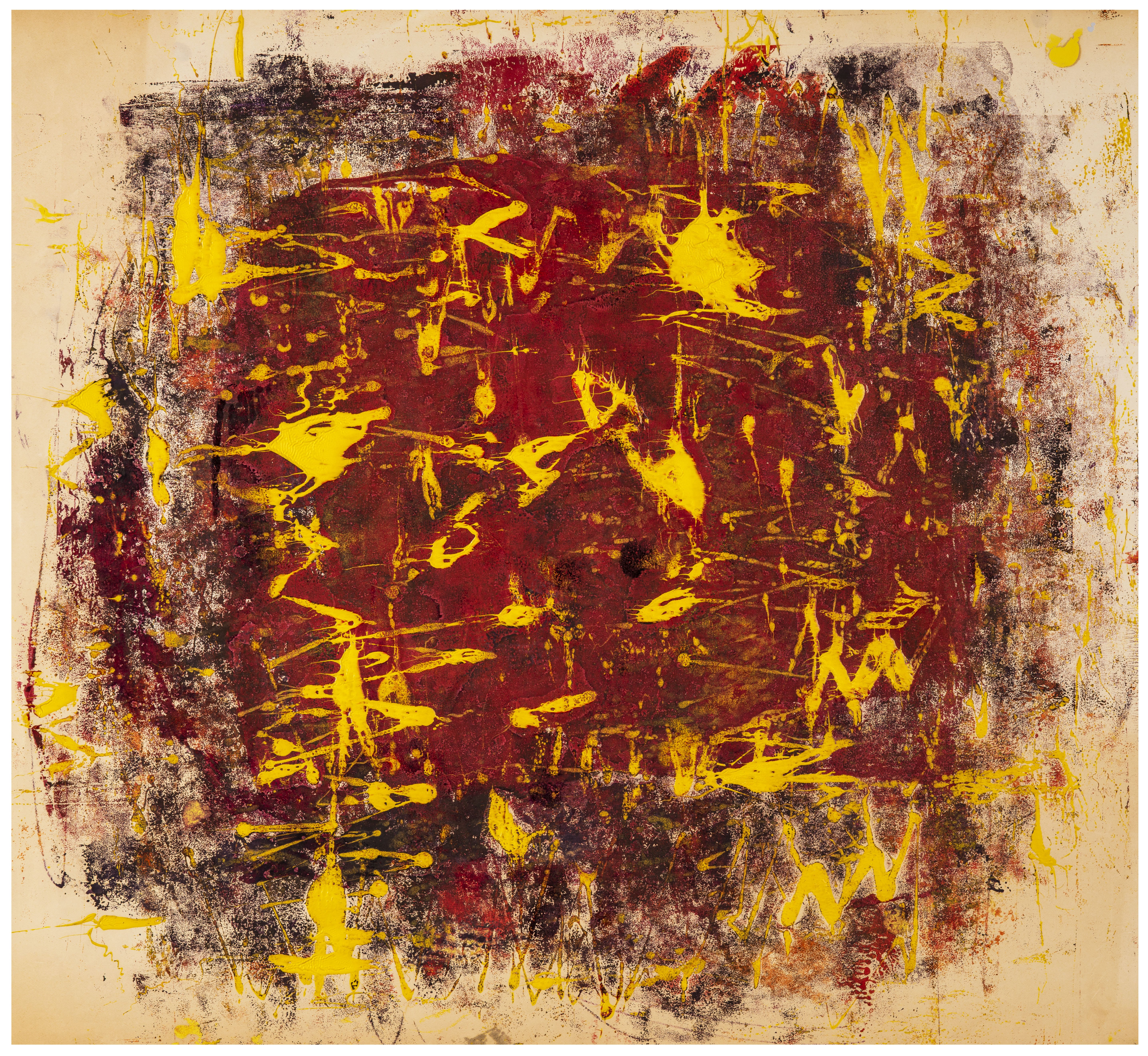 A Vintage 1950's Abstract Expressionist Oil On Paper Painting