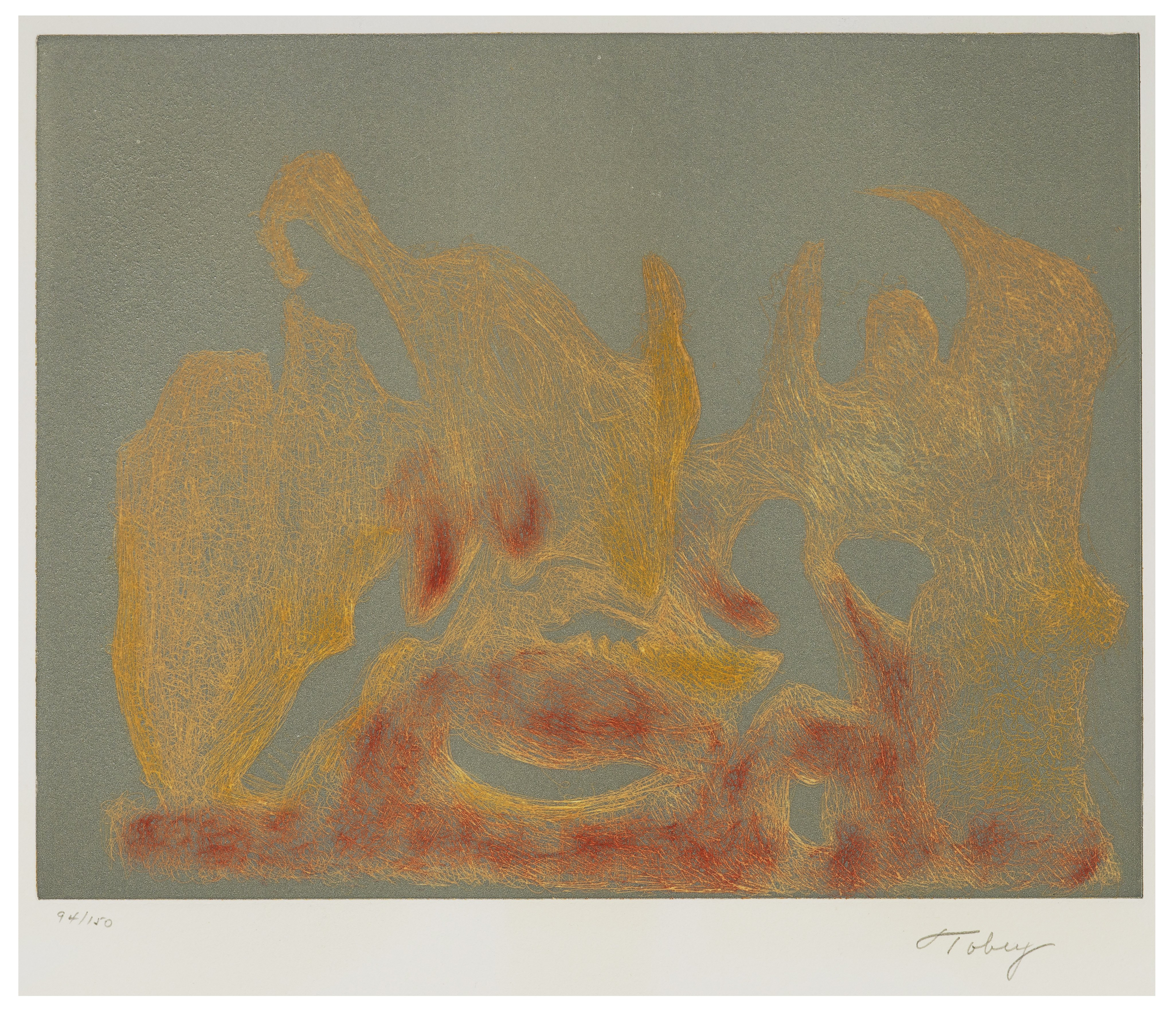 A Vintage Expressionist 1974 Mark Tobey Signed Intaglio Print Awakening Dawn