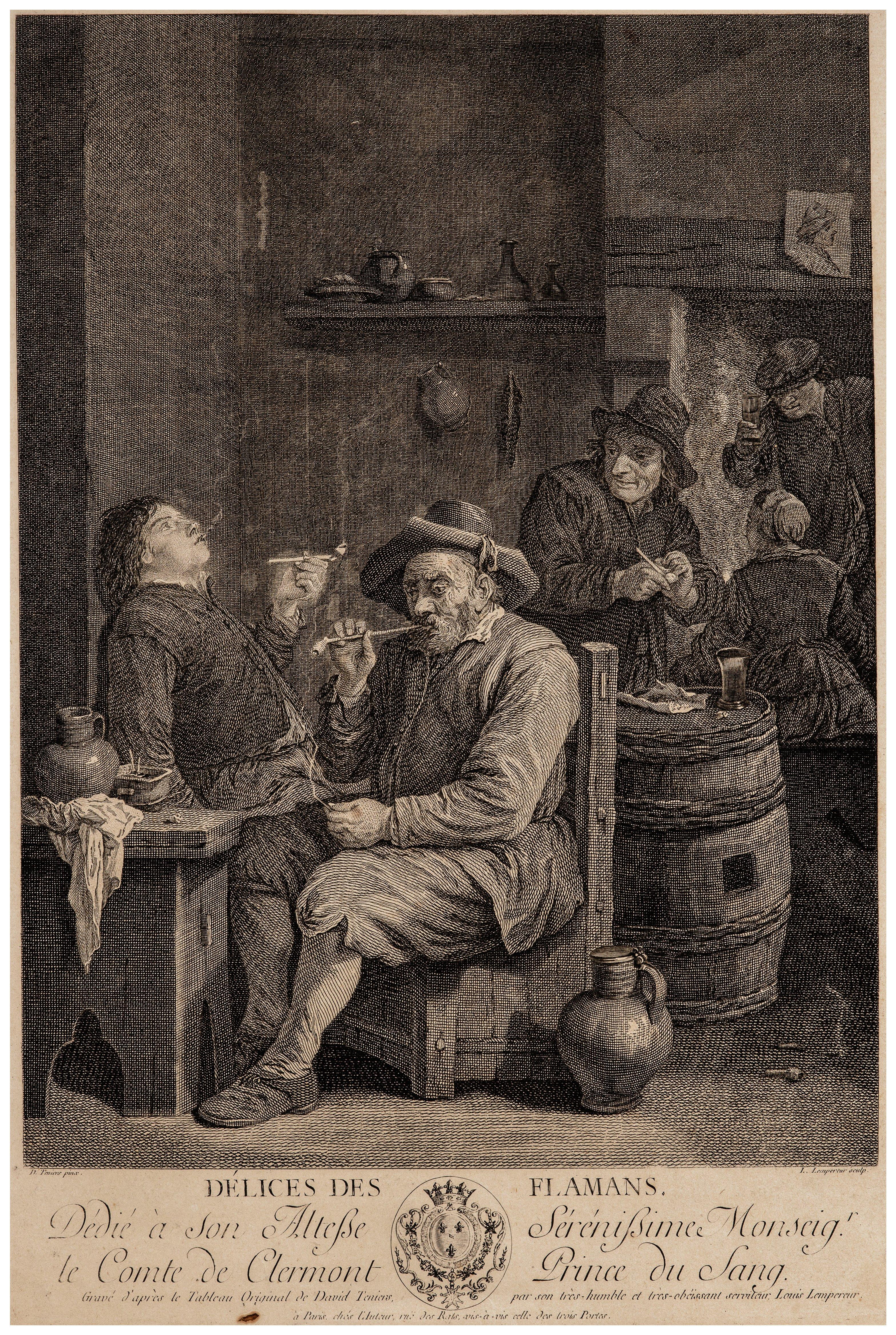 An Antique 18th Century Etching Print Délices des Flaman David Teniers