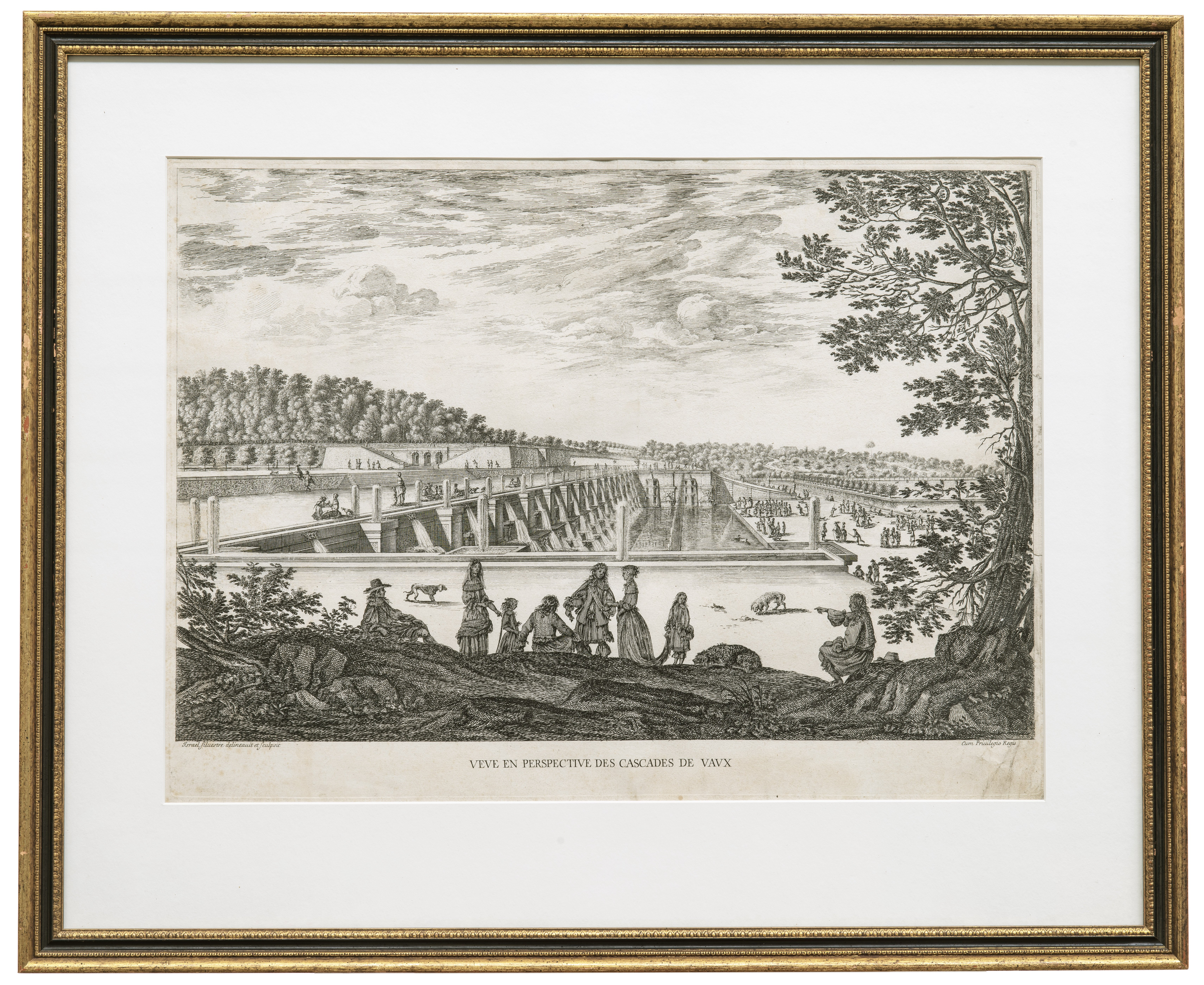 A Framed Engraving by Israel Silvestre Veve En Perspective Des Cascases De Vavx View & Perspective of The Fountains In Vaux