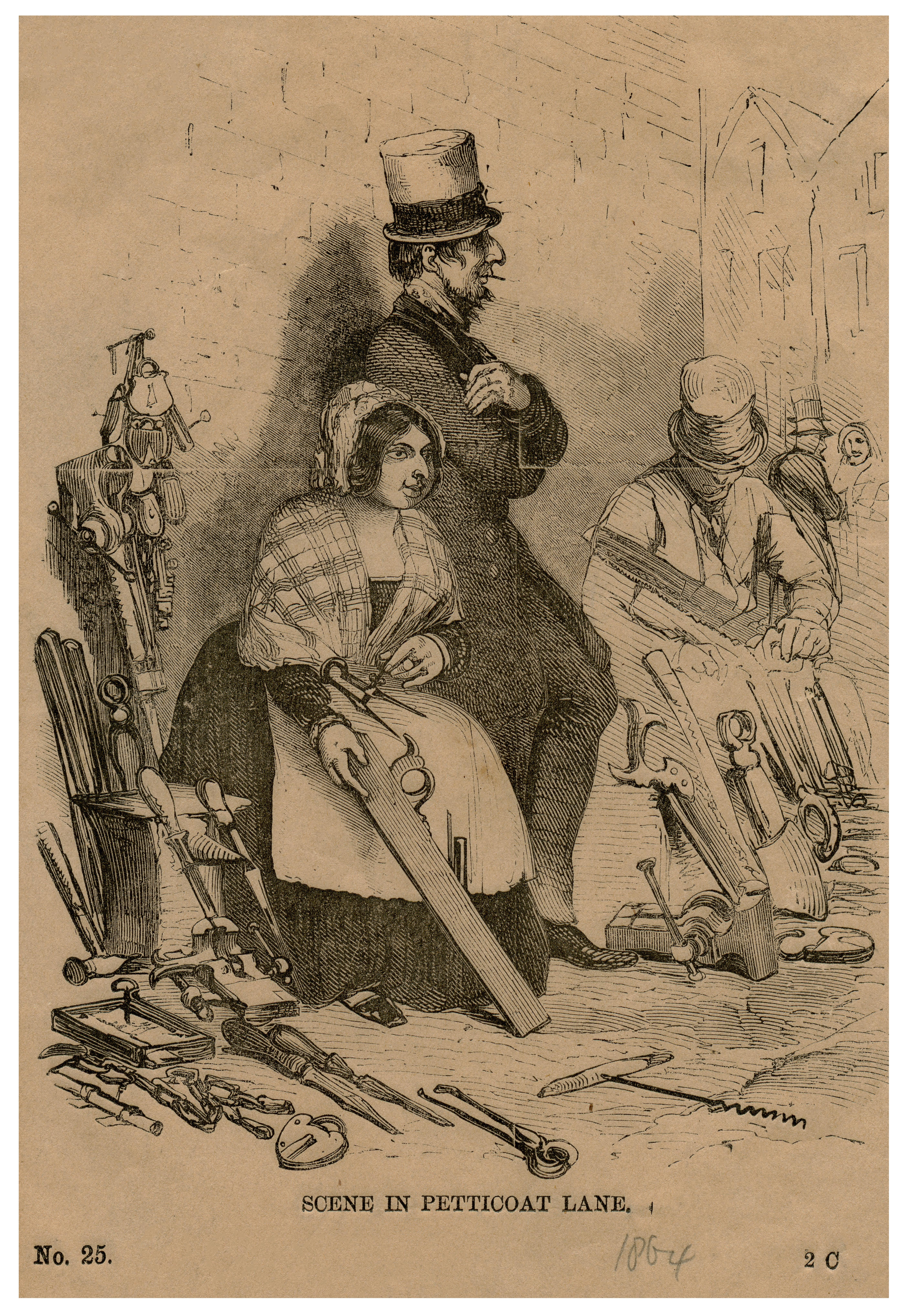 An Antique 19th Century Engraving The Tool Traders Scene In Petticoat Lane