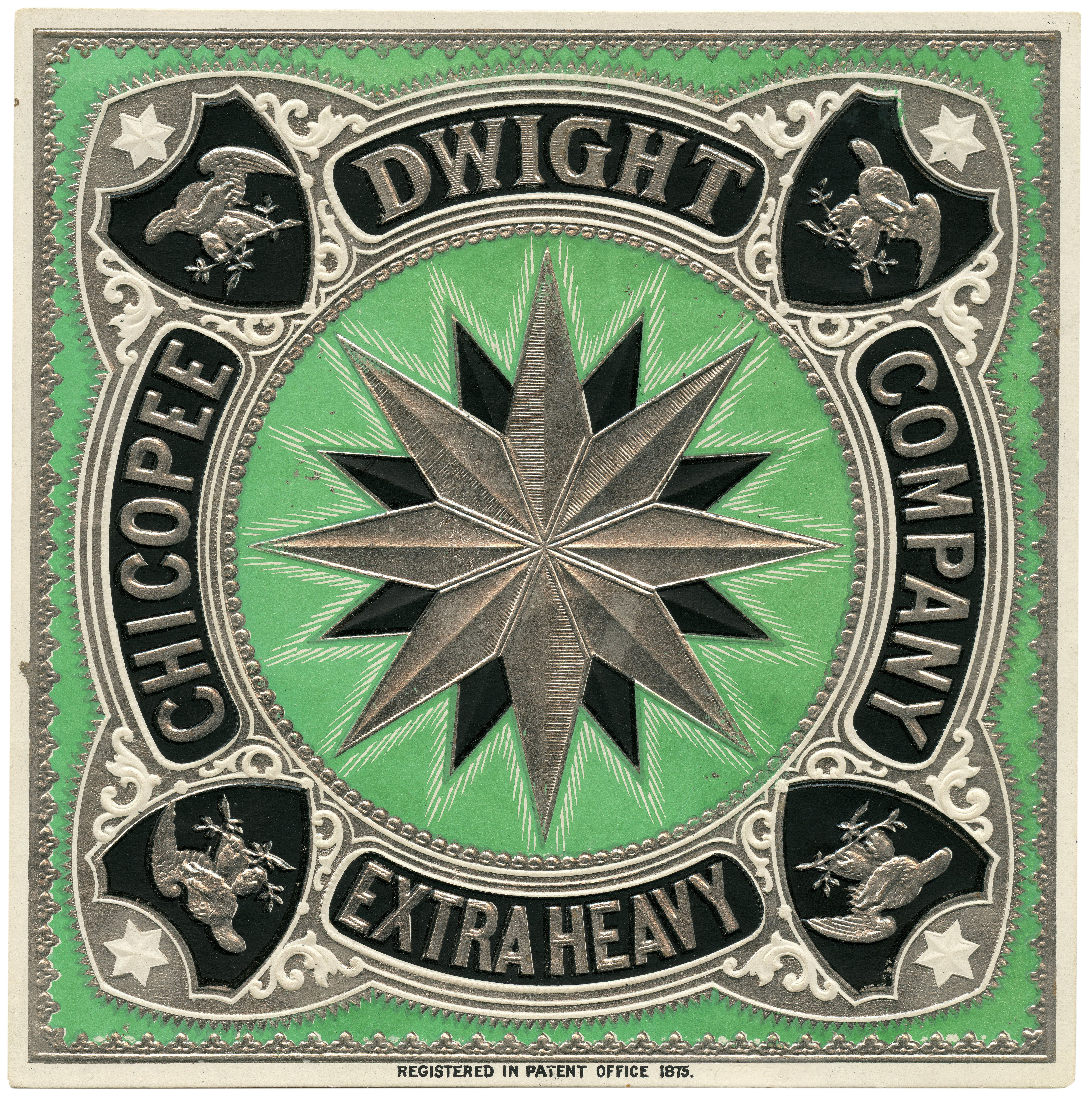 An Antique Green Ground Chicopee Dwight Company Extra Heavy Embossed Paper Trade Label 1875