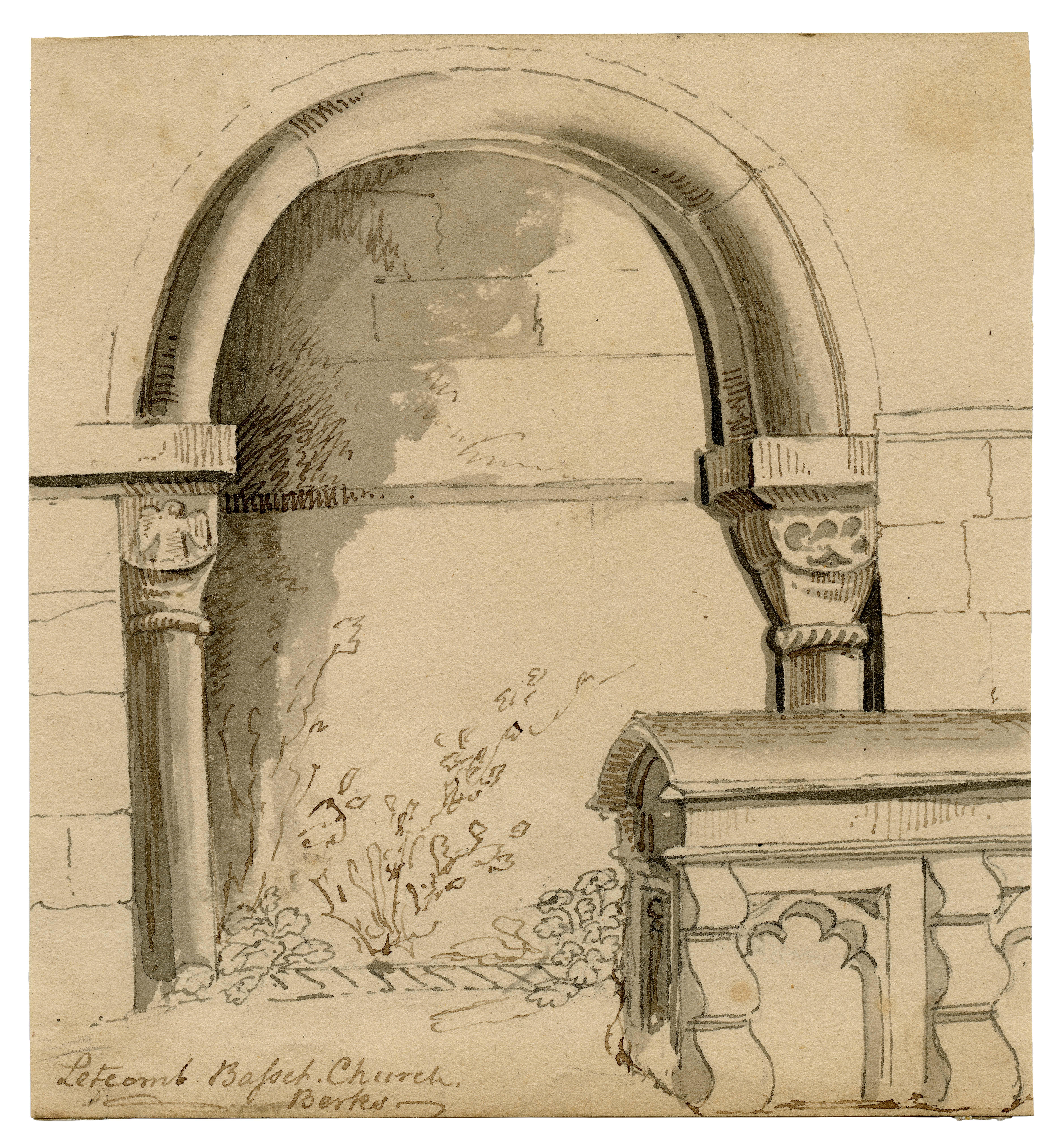 "An Early 19th Century Antique British School Drawing ""Letcomb Church Berks"""