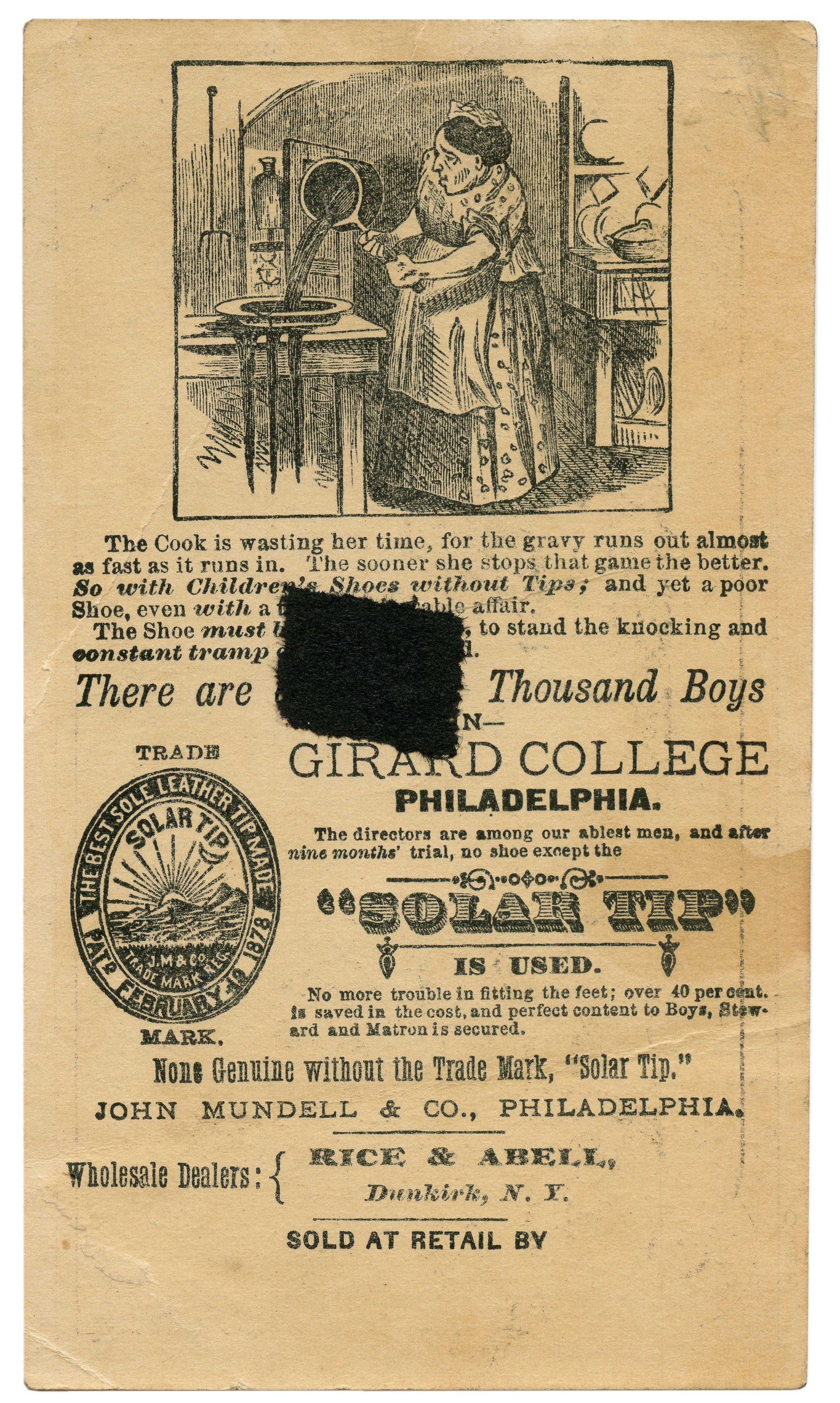 An Antique Solar Tip Shoes 1878 Craig Finley Co Commercial