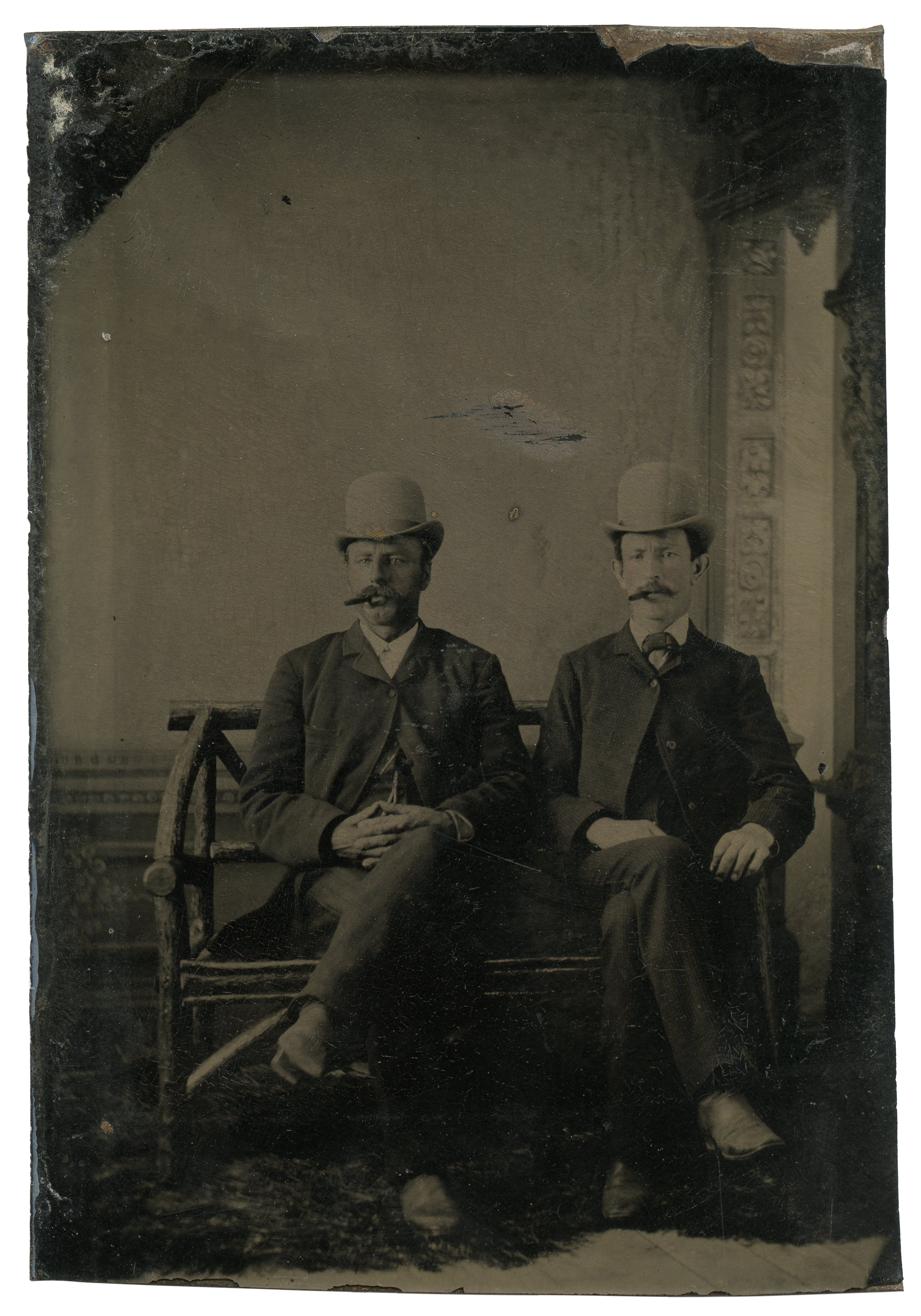 An Antique 19th Century Tintype Photograph Of Two Gentleman Smoking Cigars