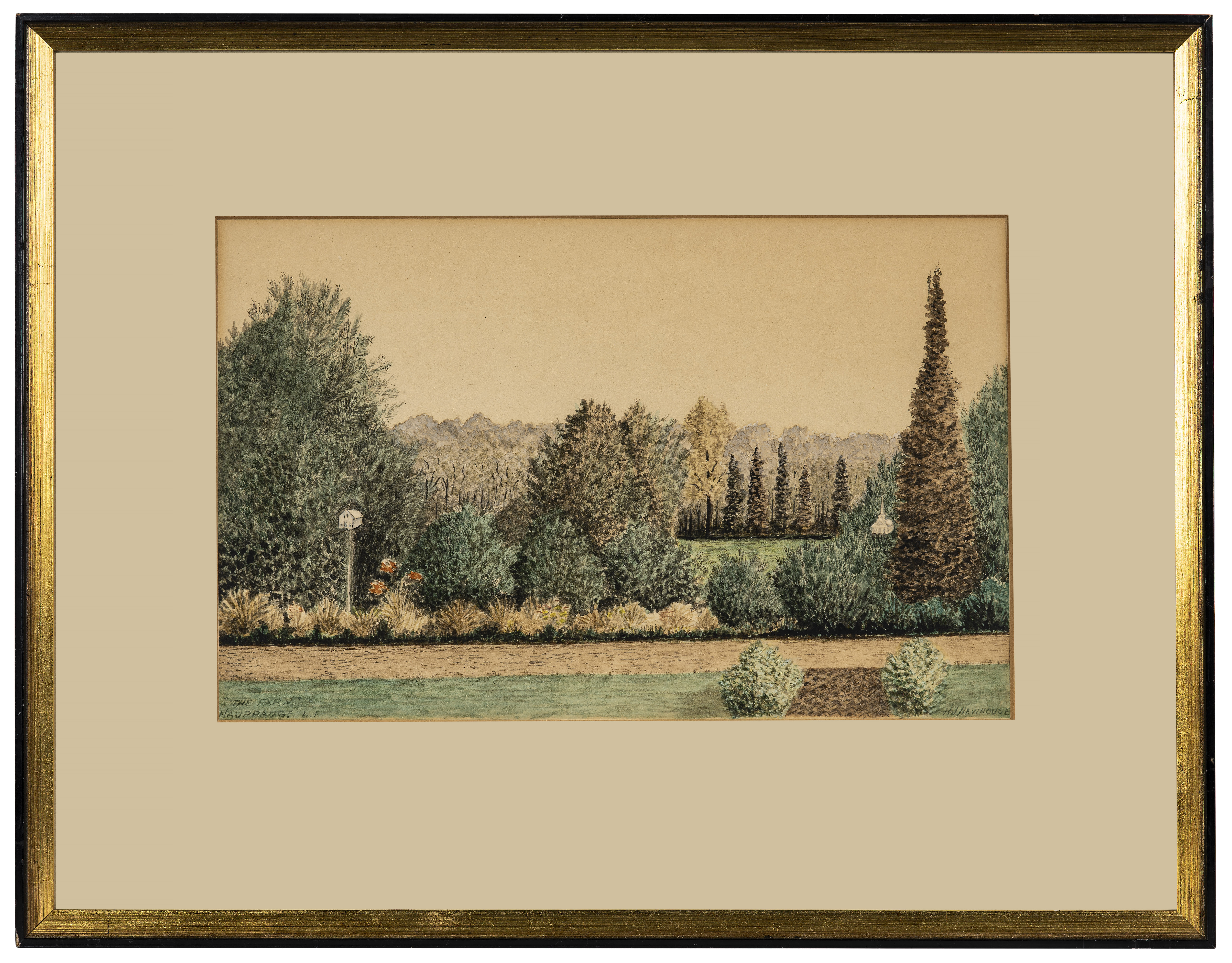 """An Antique Watercolor Drawing """"The Farm Hauppage L.I."""" Signed H.J. Newhouse"""