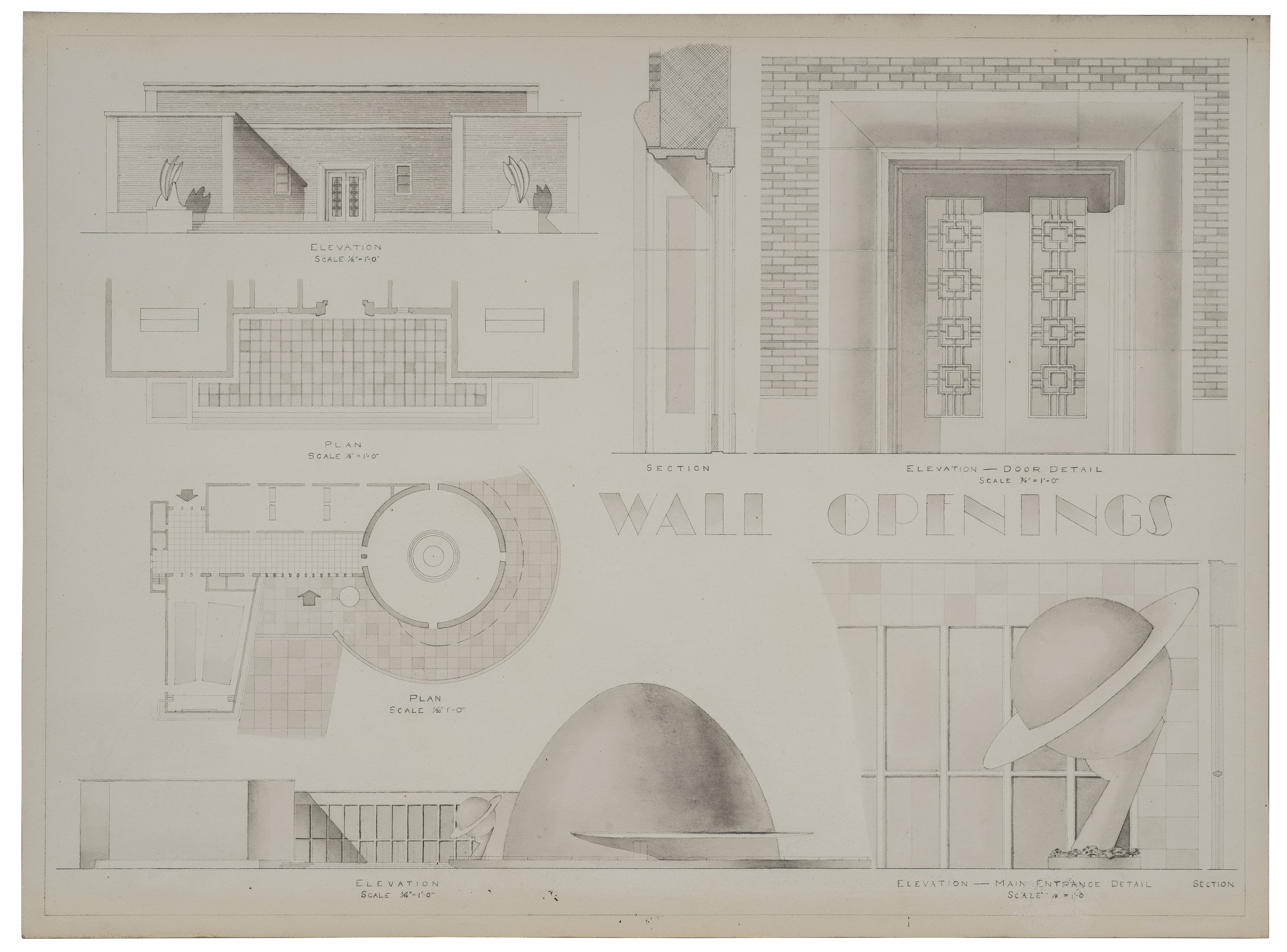 A Vintage 1960s Architectural Drawing Study 