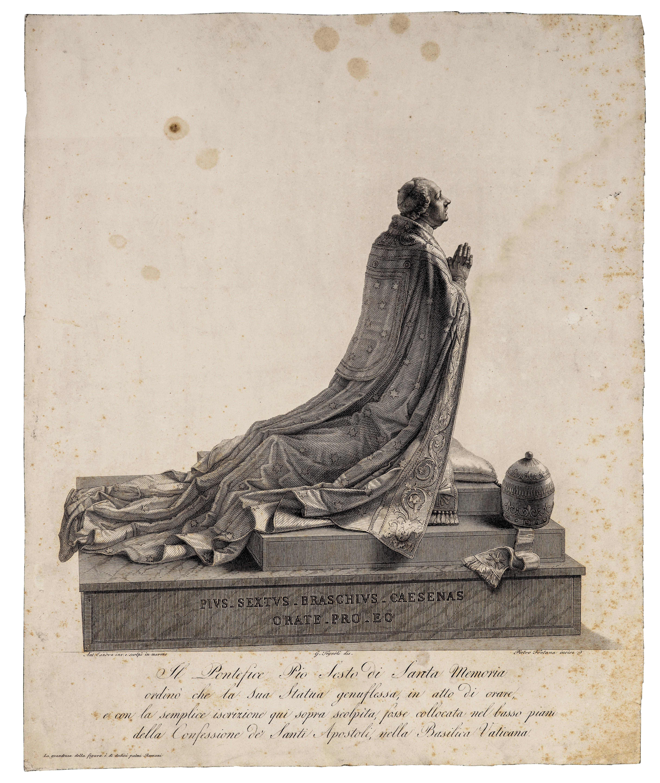 An Antique 19th Century Italian Engraving Print By Pietro Fontana of Pope Pius VI of Orante of Canova