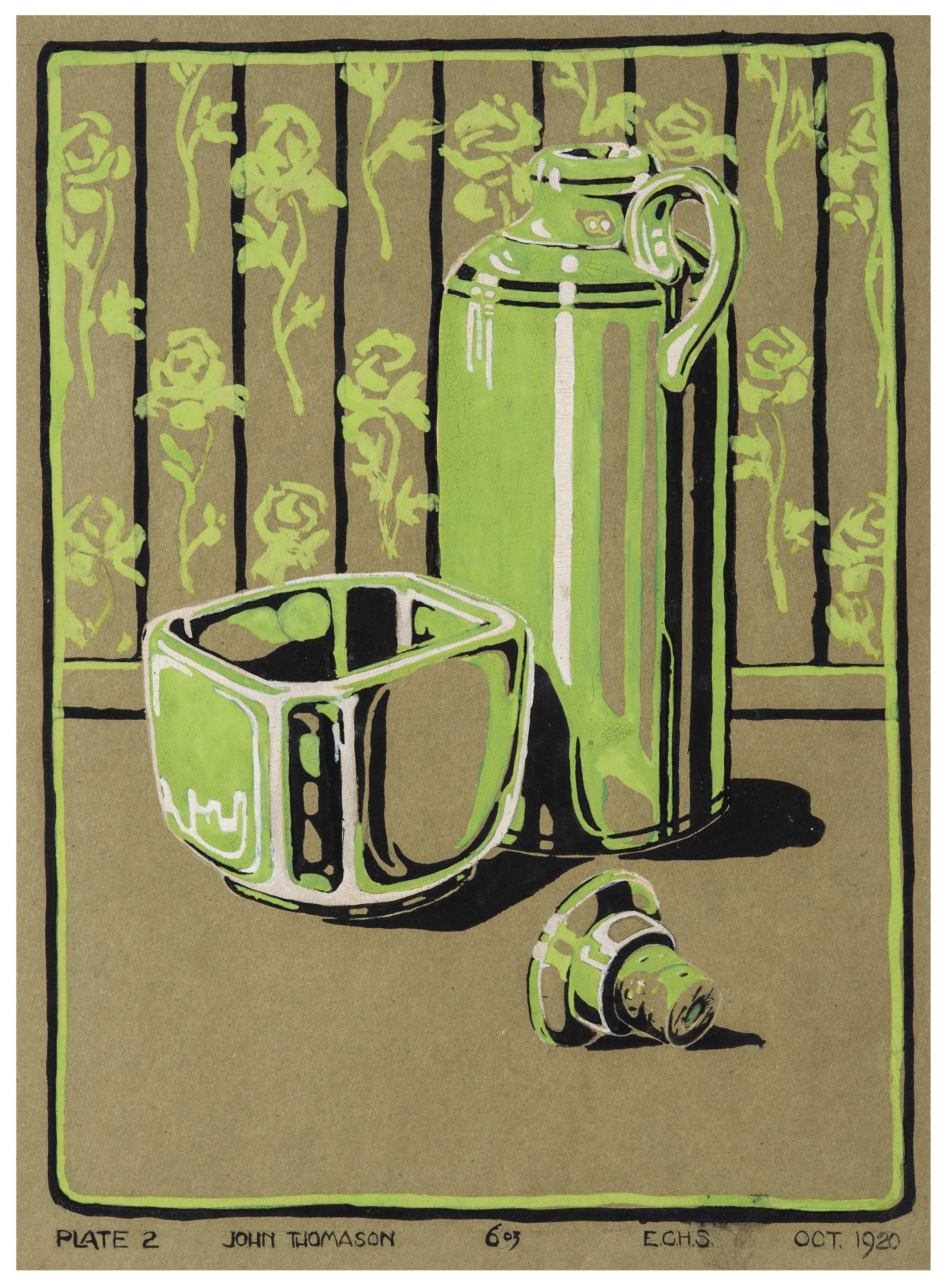 A Vintage Art Deco John Thomason Still Life Illustration Art Painting Dated 1920