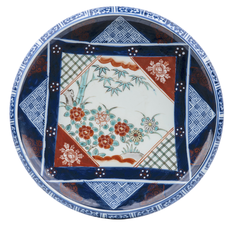 An Antique Japanese Meiji-Taisho Era Porcelain Ribbed Centerpiece Bowl