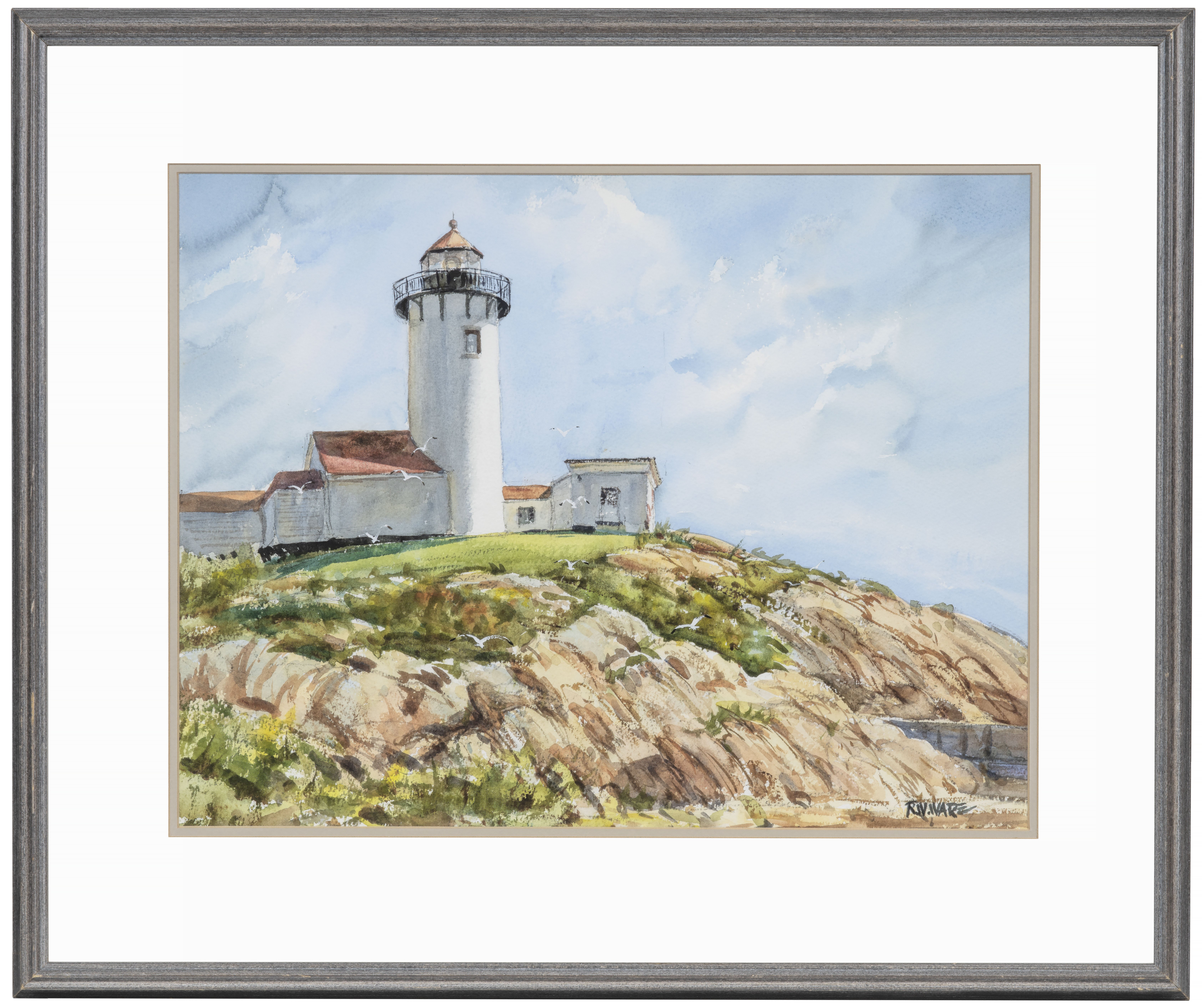 R.W. Ware Watercolor Painting Eastern Point Light Gloucester Mass Cape Ann