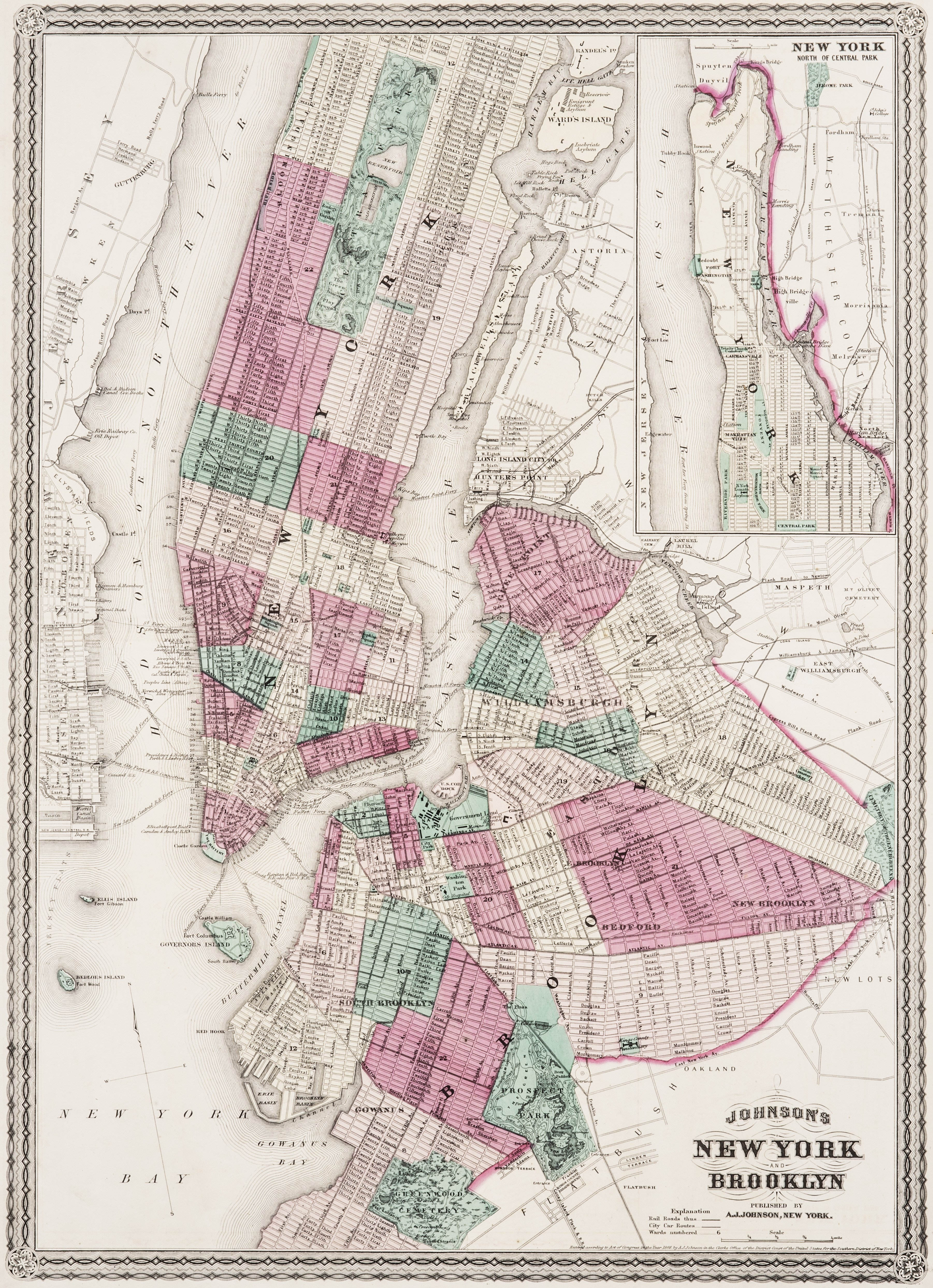 An Antique A.J. Johnsons Map Of New York & Brooklyn 1866