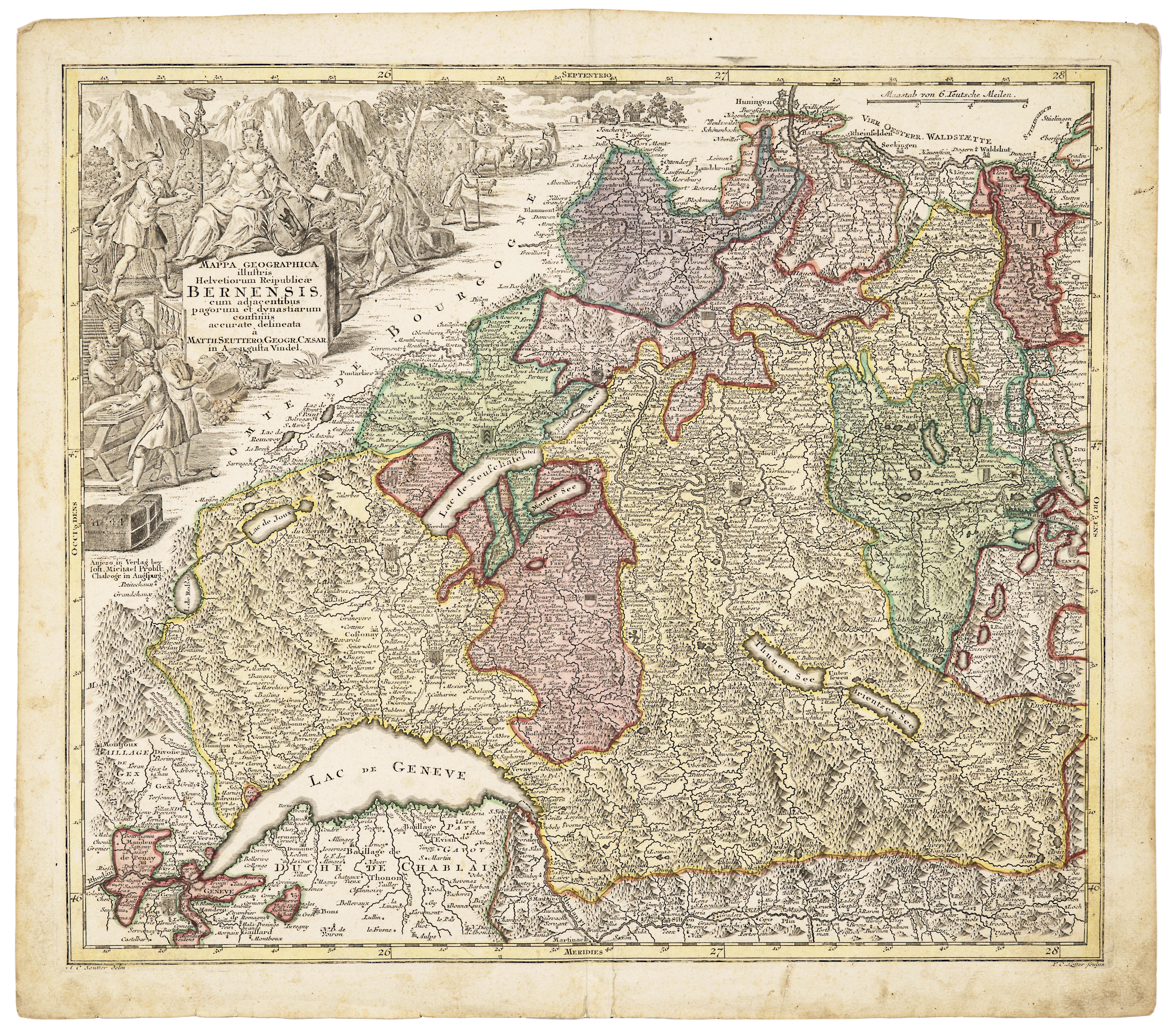 An Antique Map Bernensis of Kanton of Bern,  Geneva, Lucerne & Basel Circa 1750 By Georg Matthäus Seutter