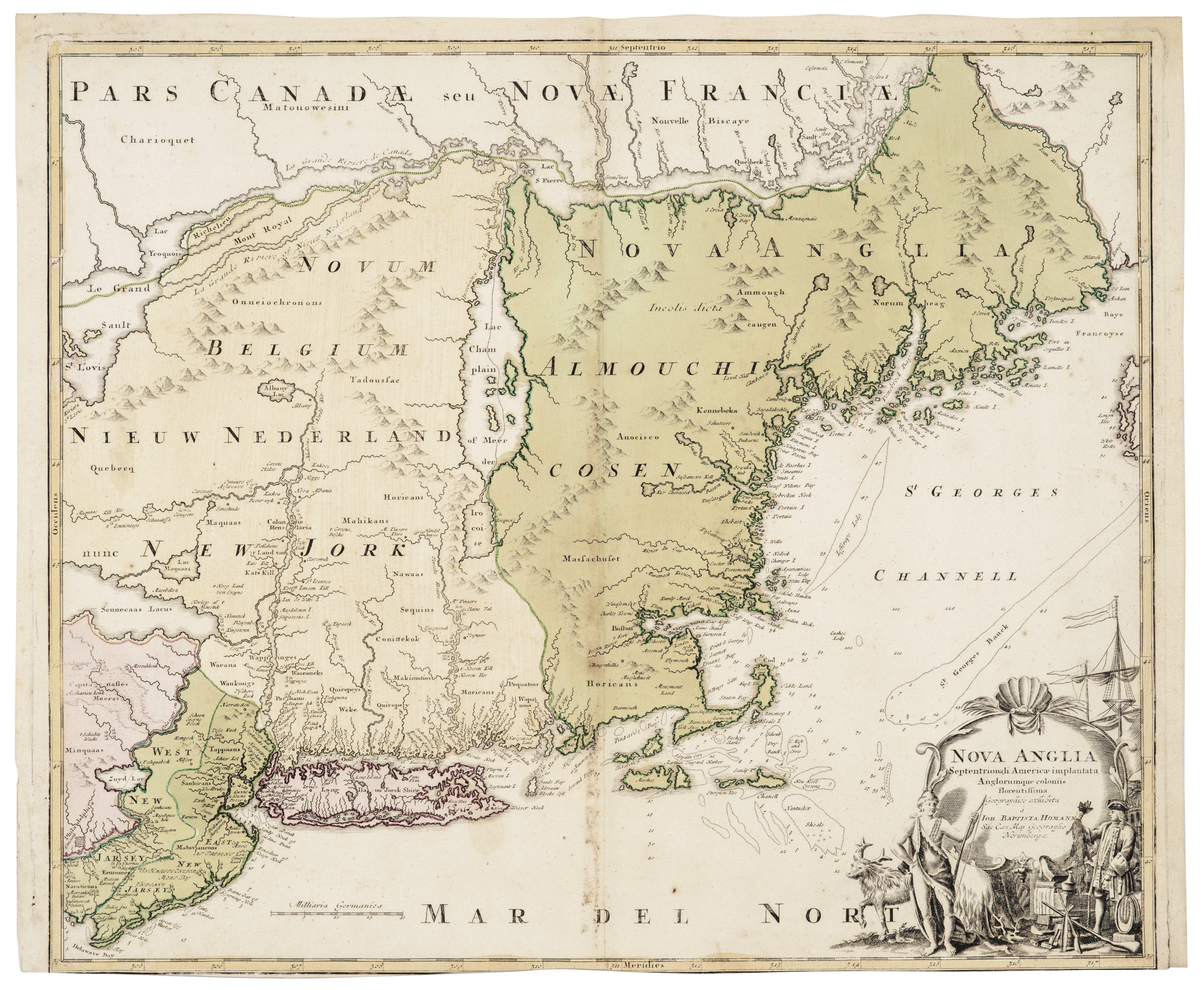 Nova Anglia America Implantata Antique Map Of New York By Baptista Homann