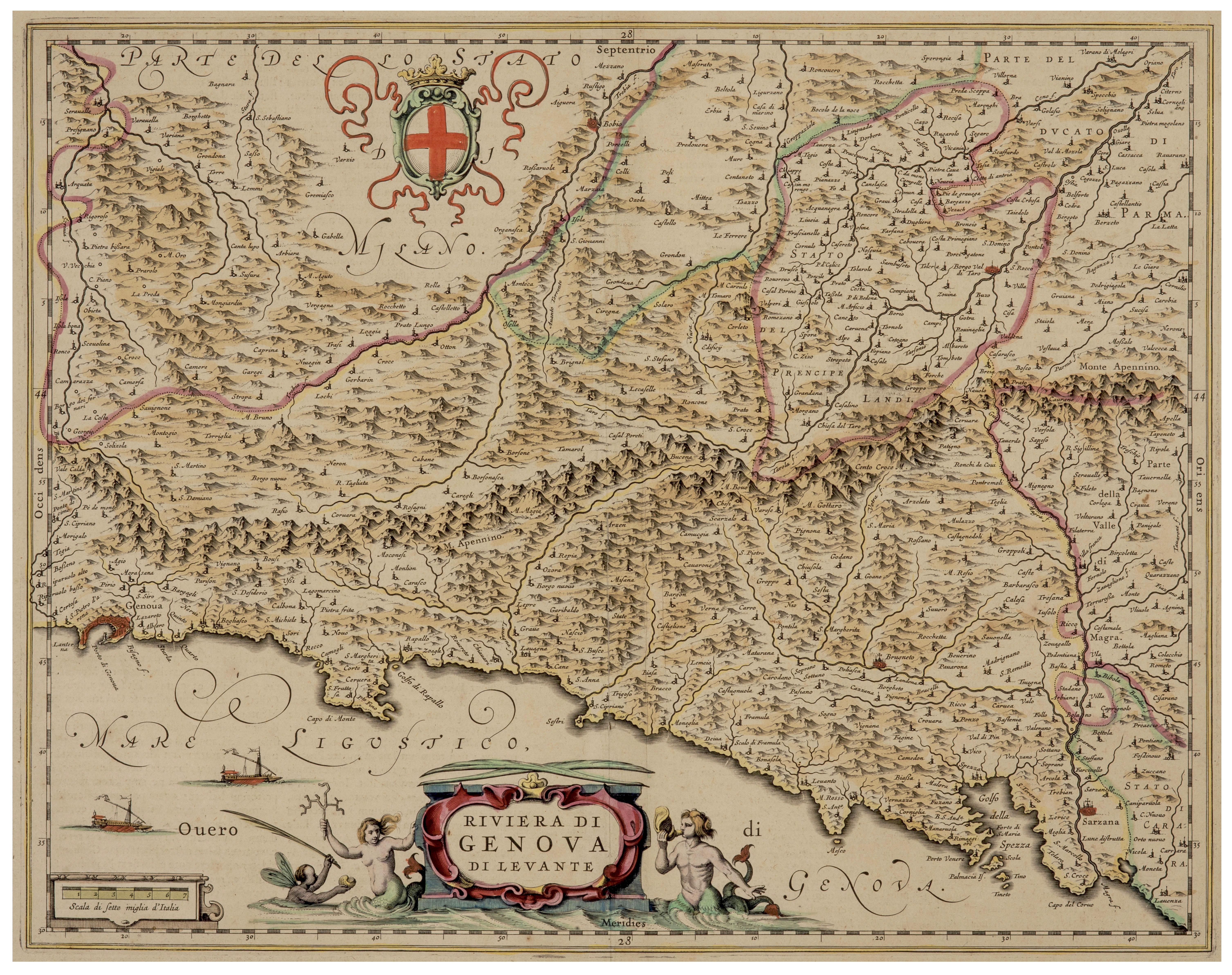 An Antique 17th-18th Century Map of Riviera Di Genova Di Levante, Italy