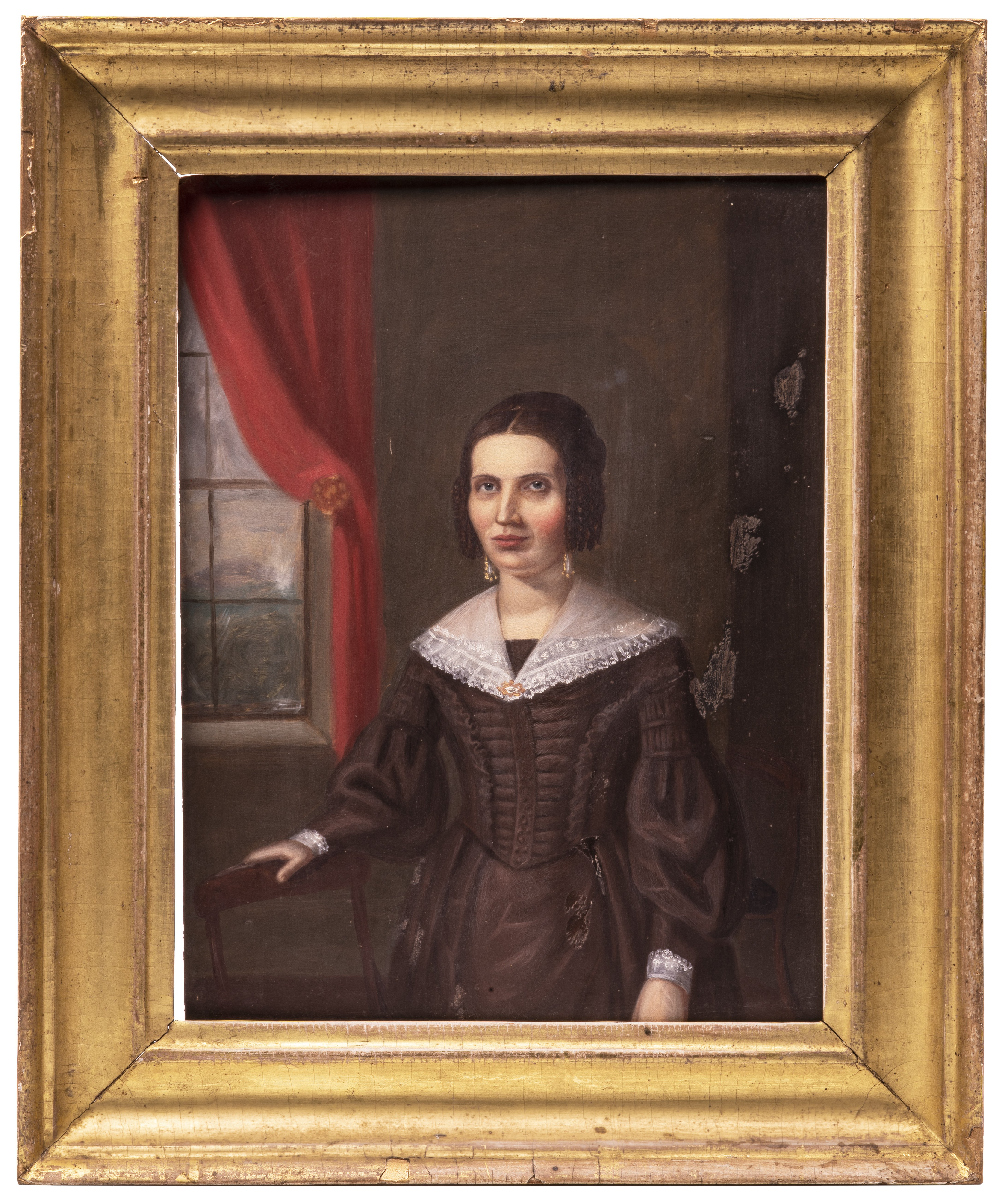 An Antique American Folk Art Portrait Manner of John Ritto Penniman