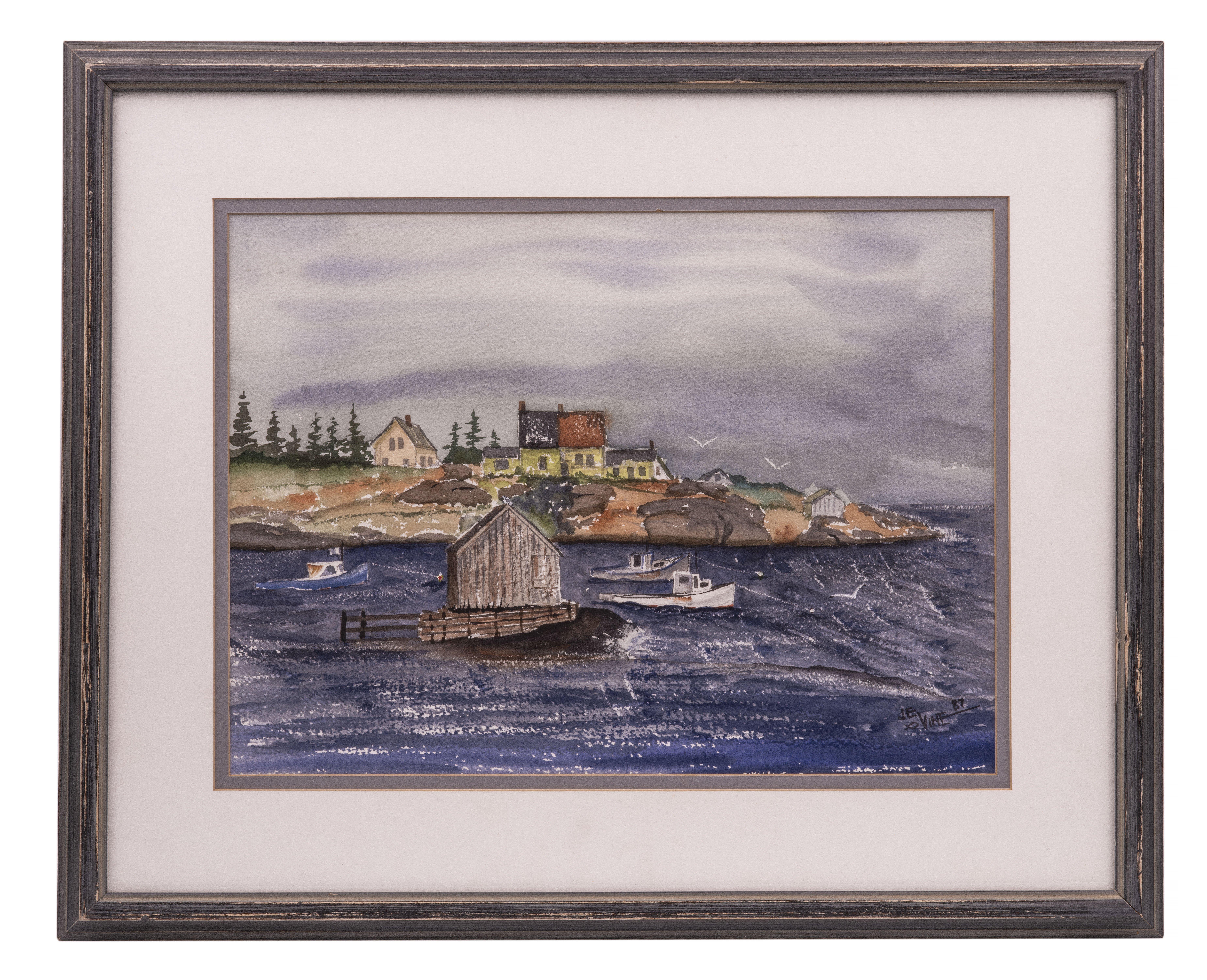 An Original J.E. Vine Maritime Shore Scene Watercolor 87'