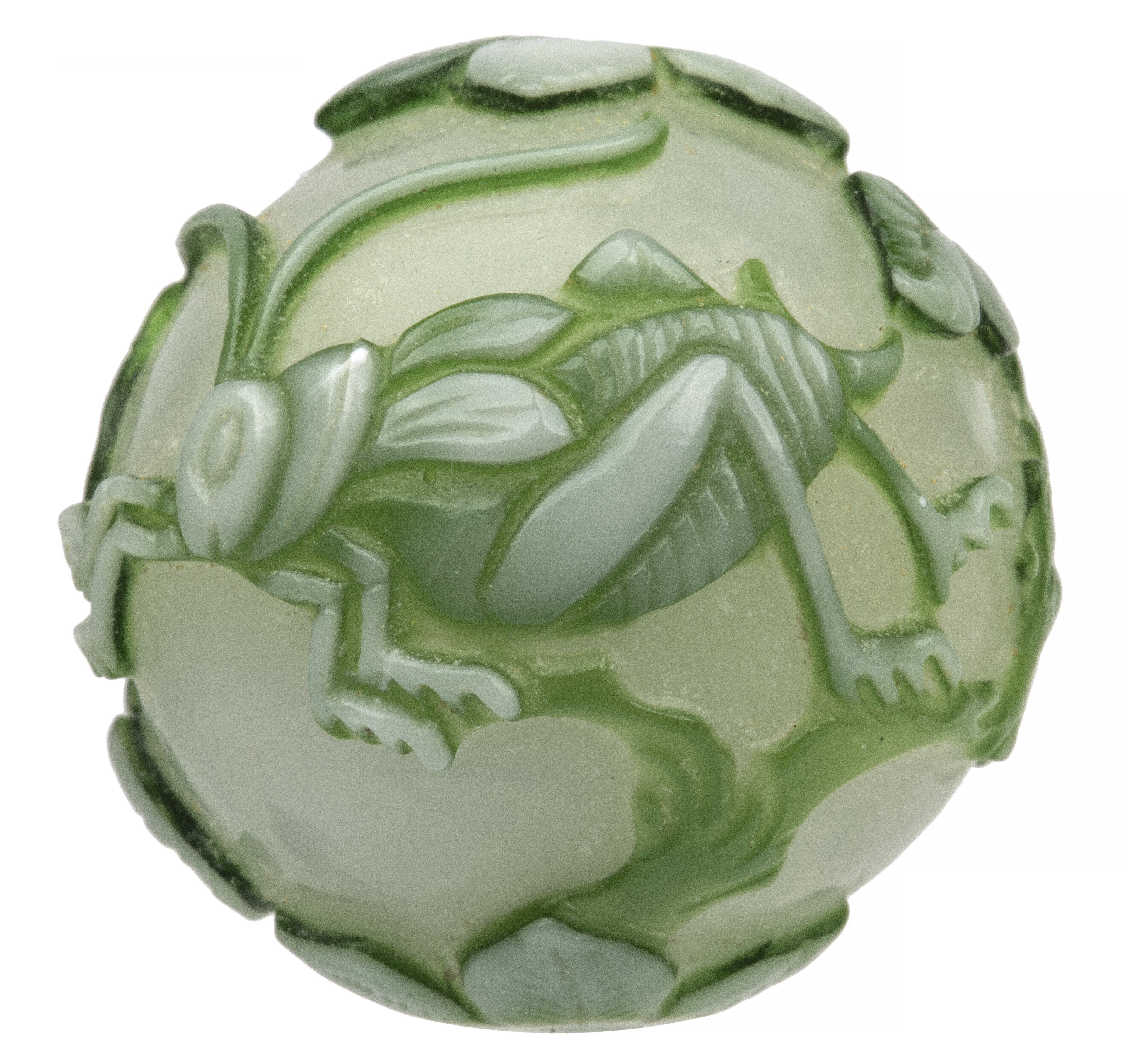 A Large Antique Chinese Peking Glass Grasshoppers & Peaches Glass Bead
