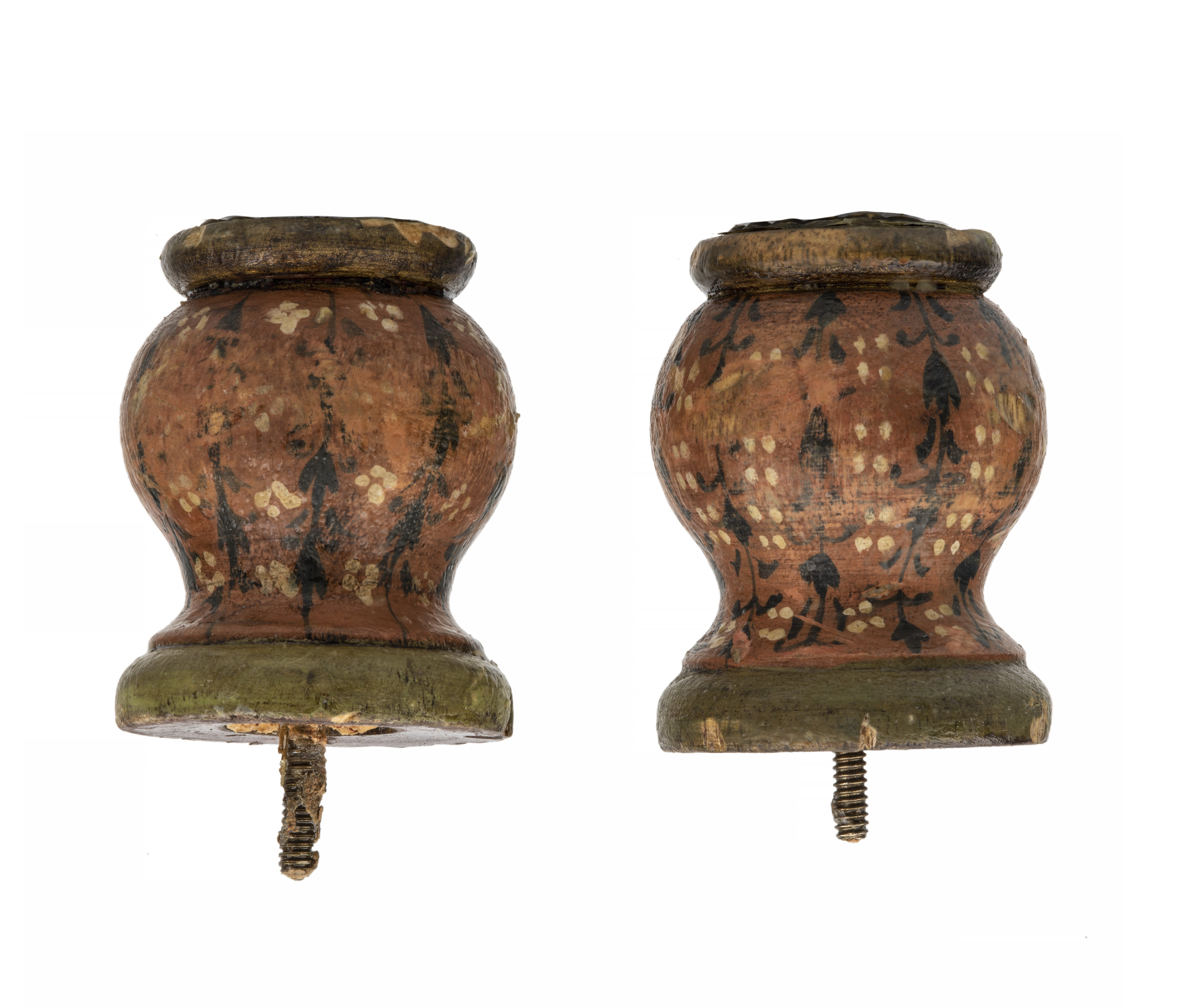 A Pair Of  Vintage European Antique Style Polychrome Decorated Finial Knobs