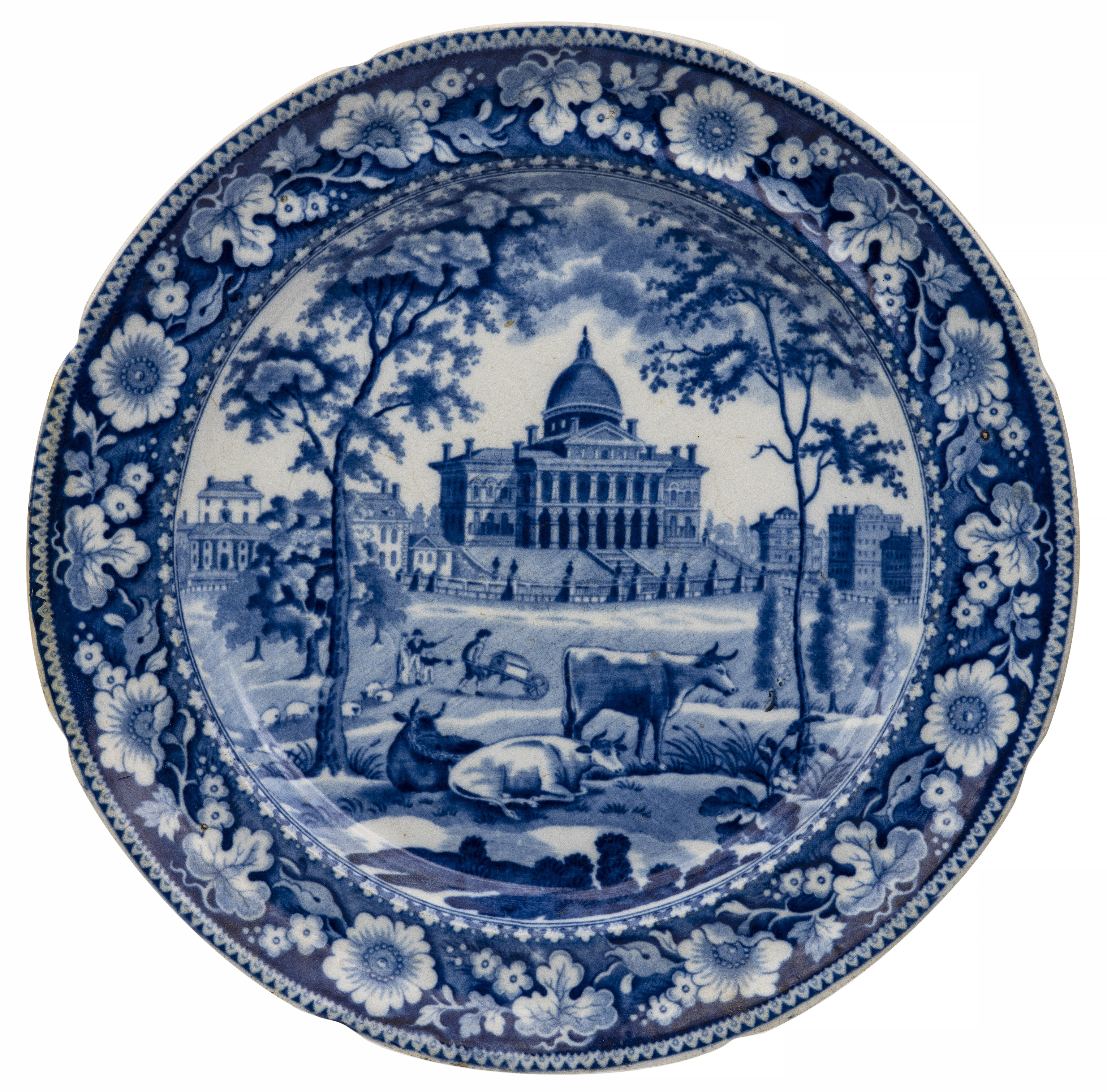 An Antique Lobbed Historical Staffordshire Plate