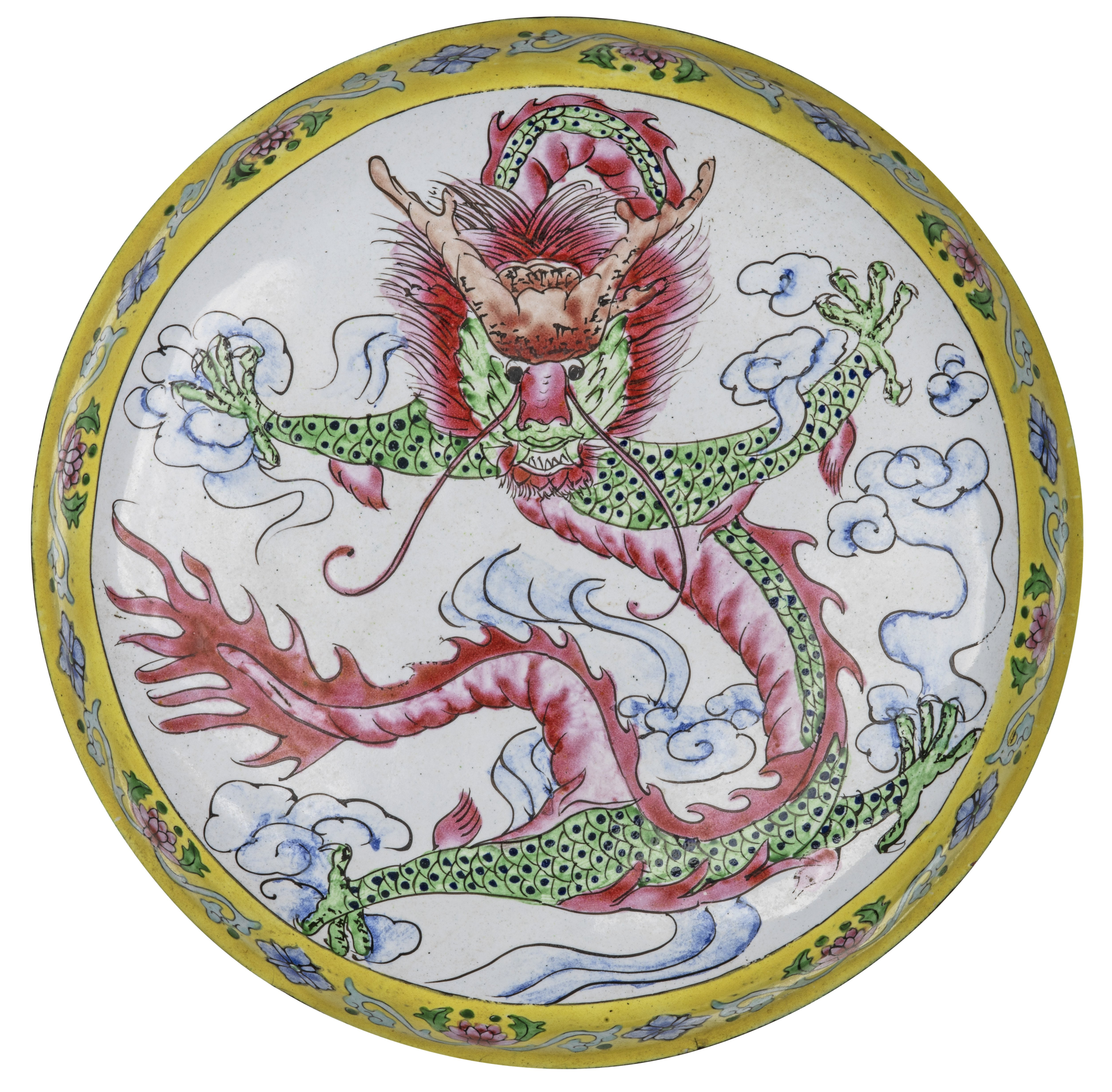 An Early 20th Century Chinese Enamel Dragon Decorated Box & Cover