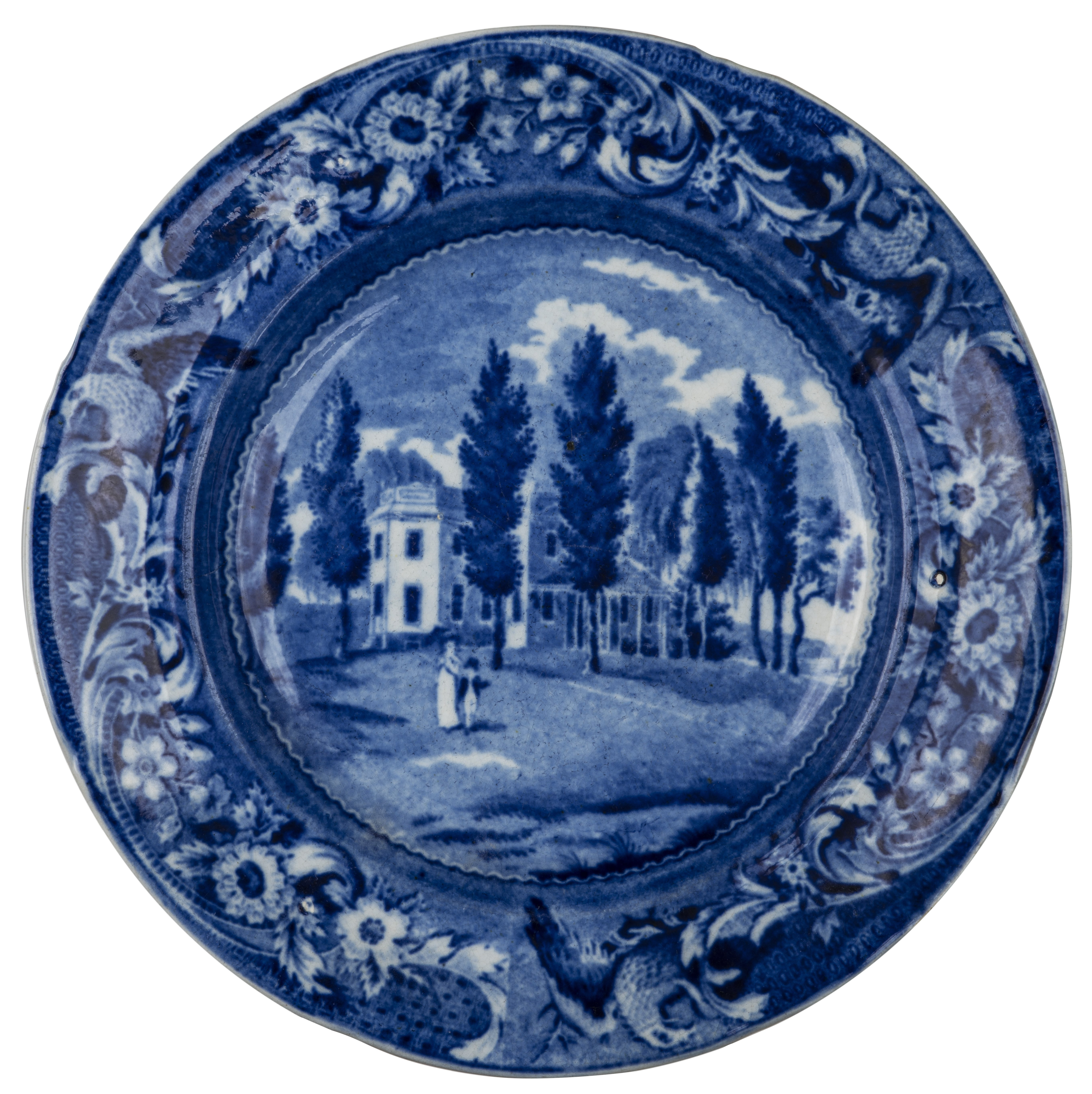 An Antique Blue Historical Staffordshire Plate Hoboken In New Jersey