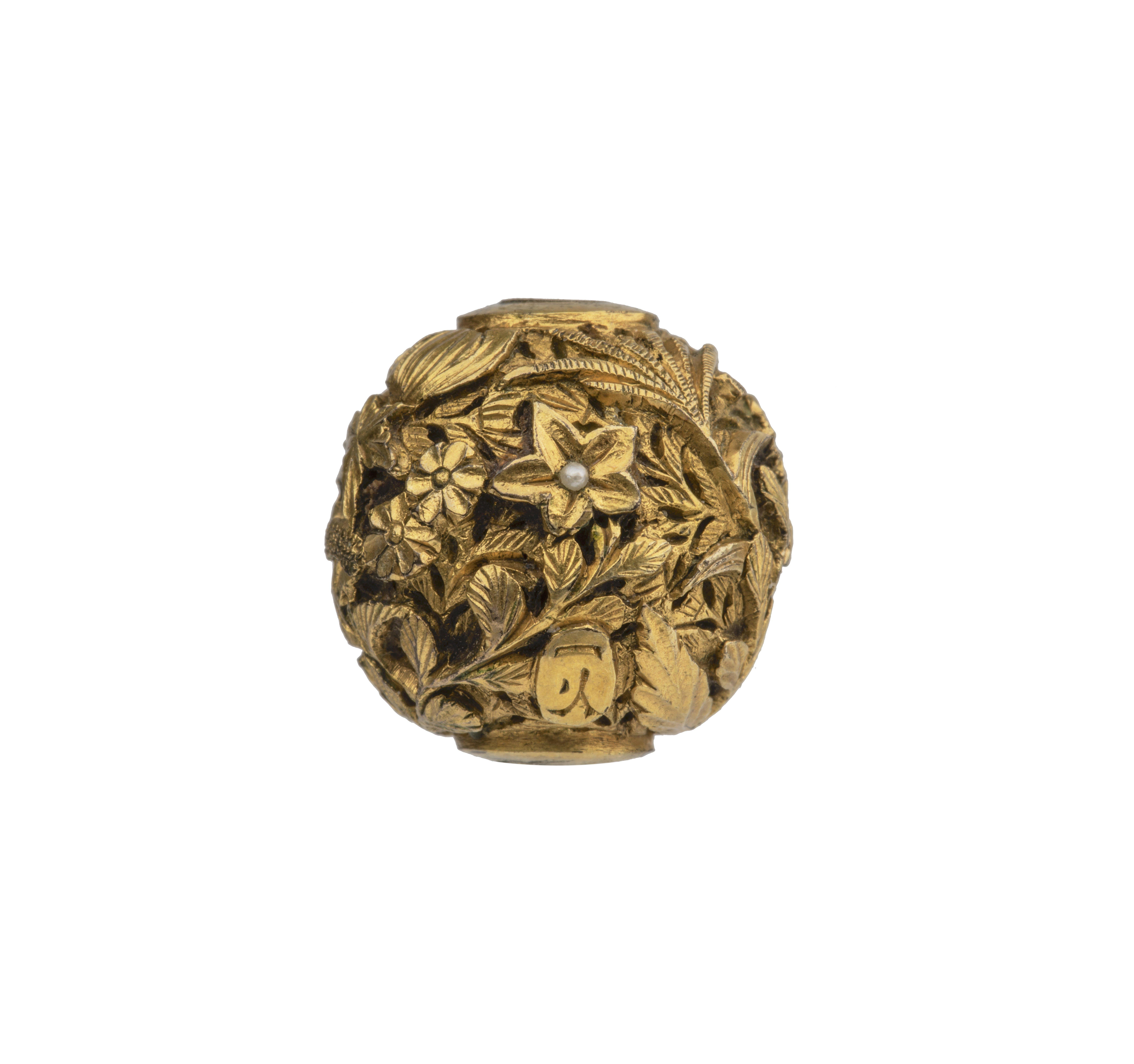 An Antique Japanese Meiji Era Signed Gilt Bronze Pearl Inlaid Ojime Bead