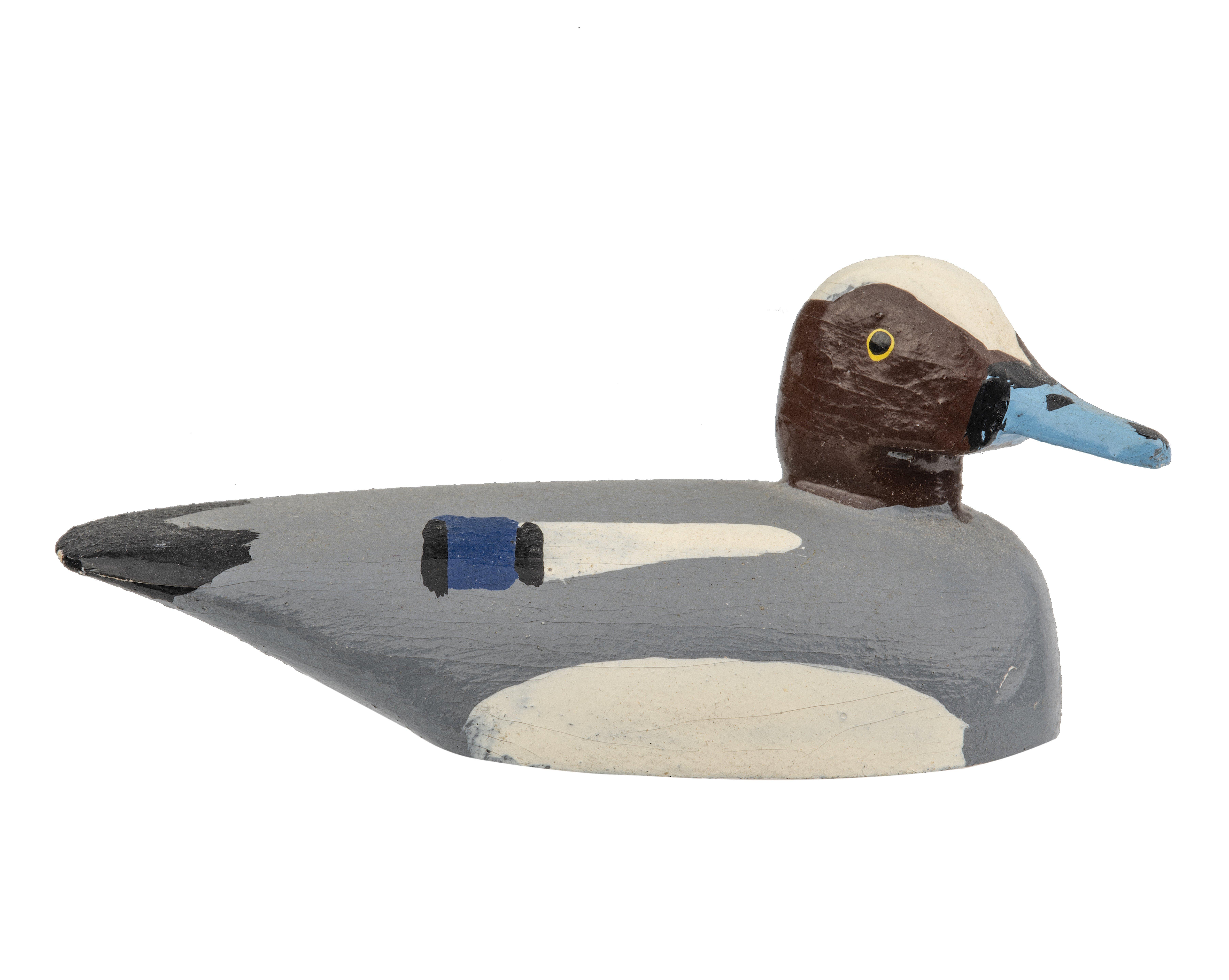 A Vintage Signed  Wooden Miniature Folk Art Bird Duck Decoy Of A Widgeon Dated 1973