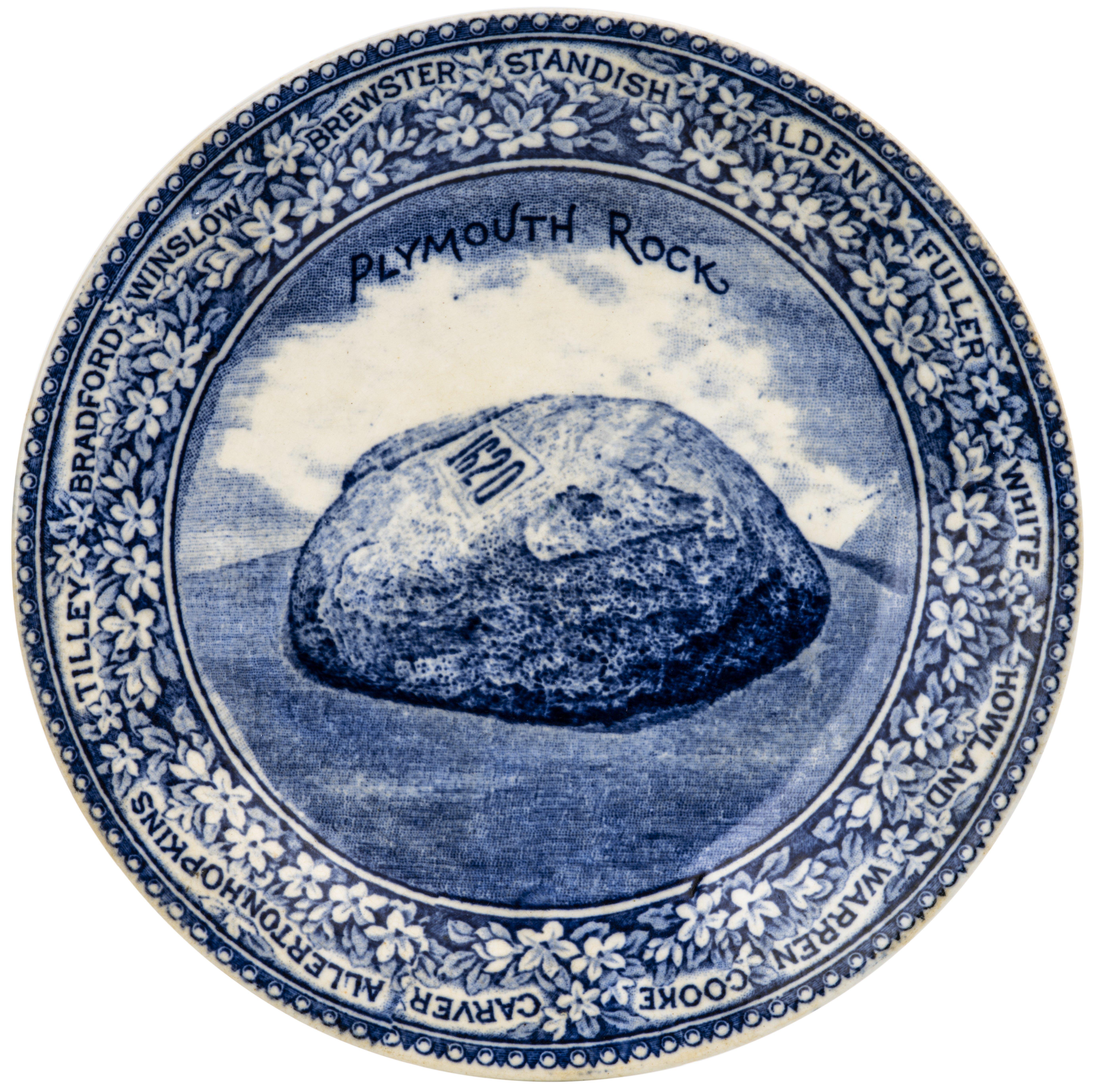 A Plymouth Rock 1620 British Anchor A.S. Burbank Historic Transfer Printed Dish