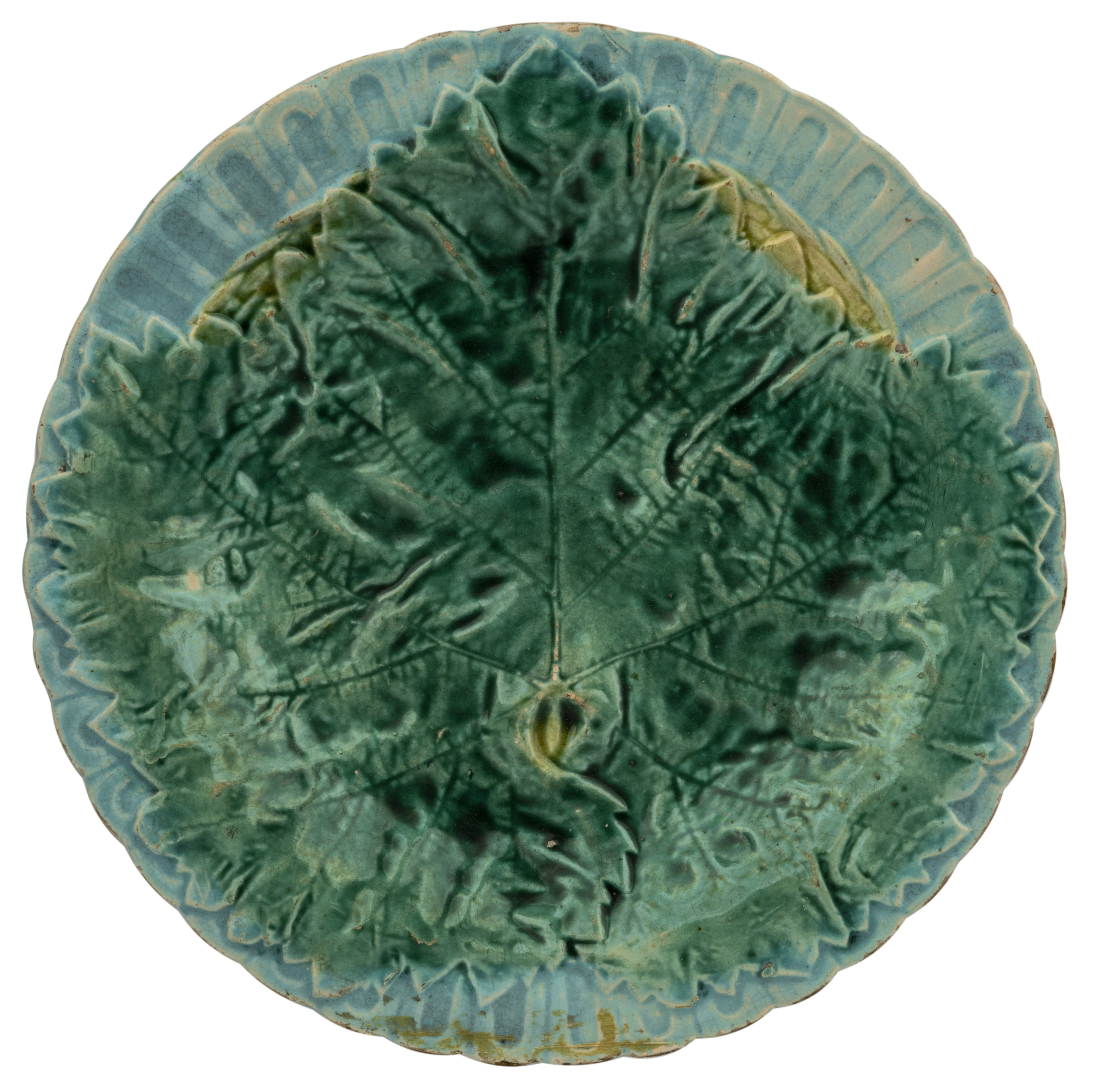 An Antique Lobbed Cabbage Leaf Majolica Pottery Dish