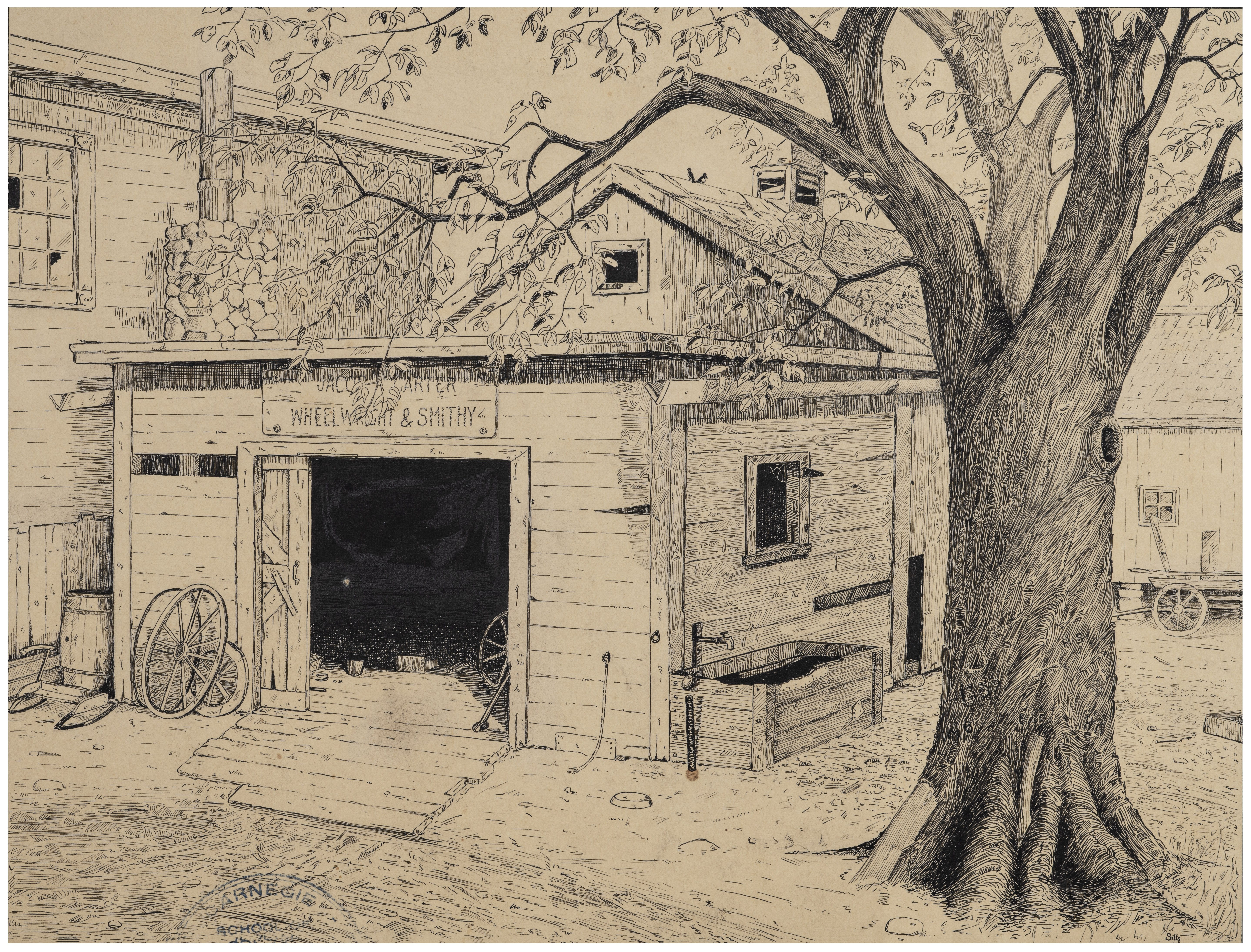 """An Antique 1924 Illustration Art Drawing Under The Spreading Chestnut Tree """"The Village Smithy Stands"""""""