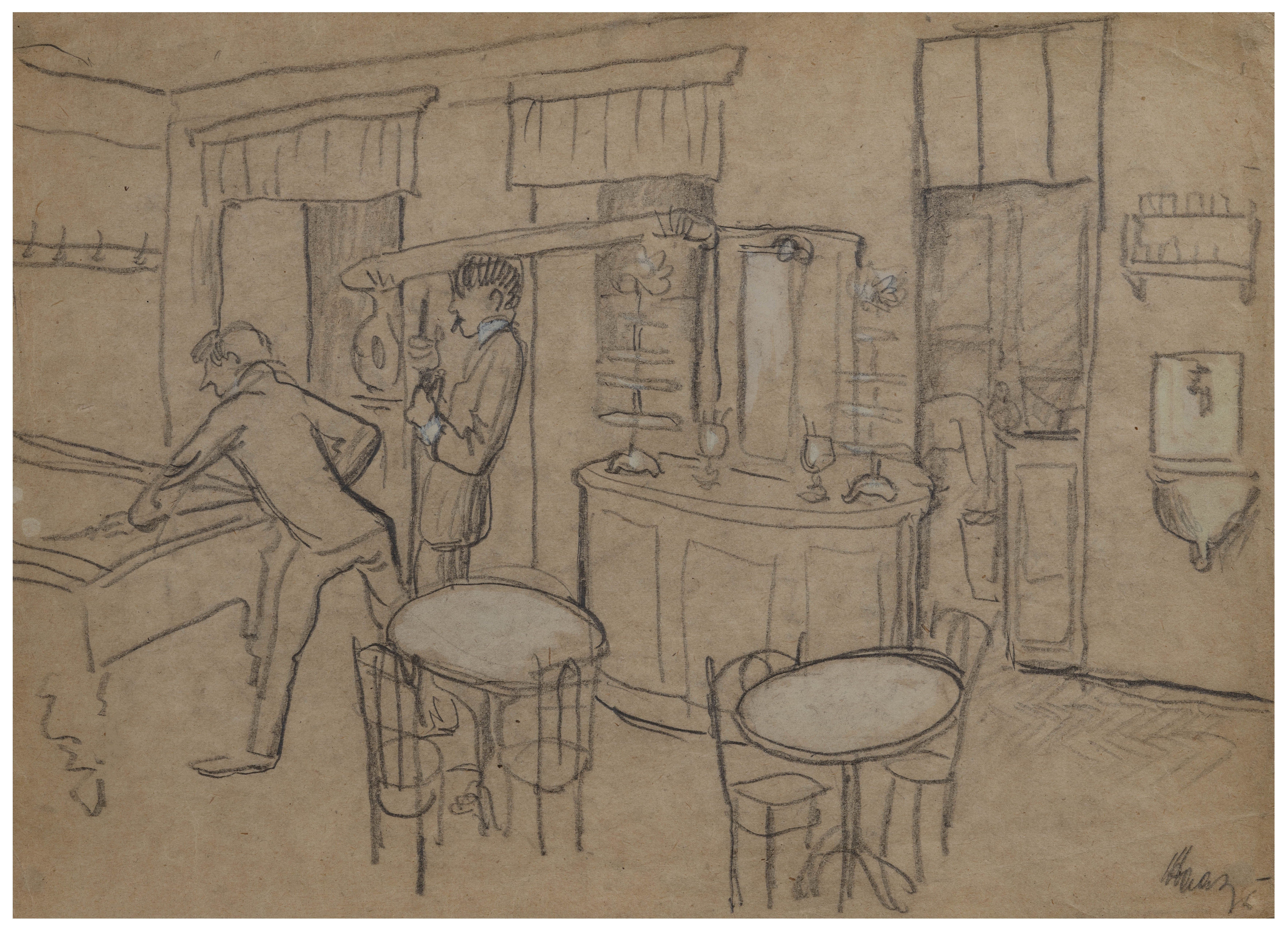 An Vintage Expressionist Bar Scene Drawing Signed \u0026 Attributed to Aad de  Haas