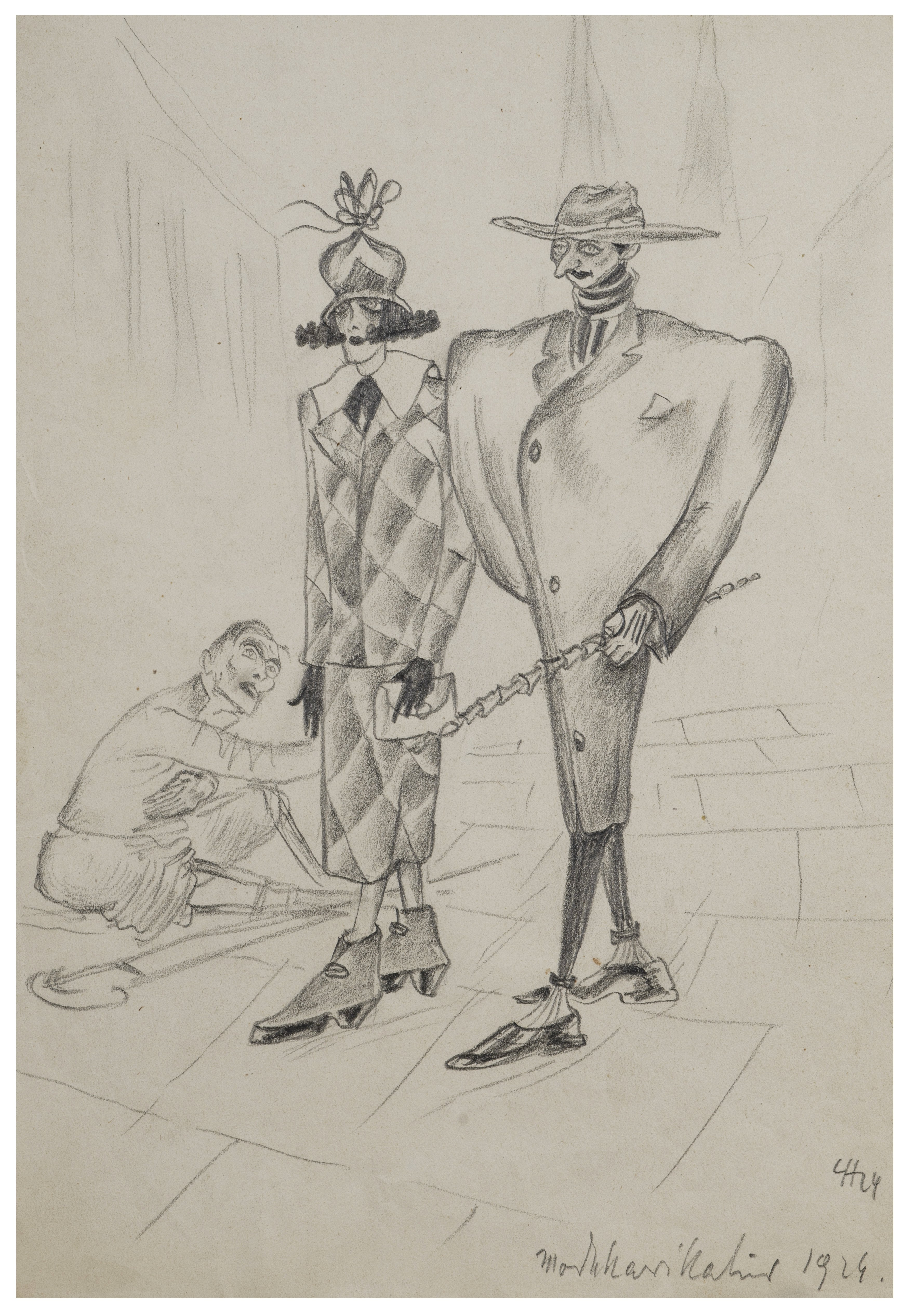 """A Vintage German Expressionist Drawing Dated 1929 """"The Elite Above The Poor"""""""