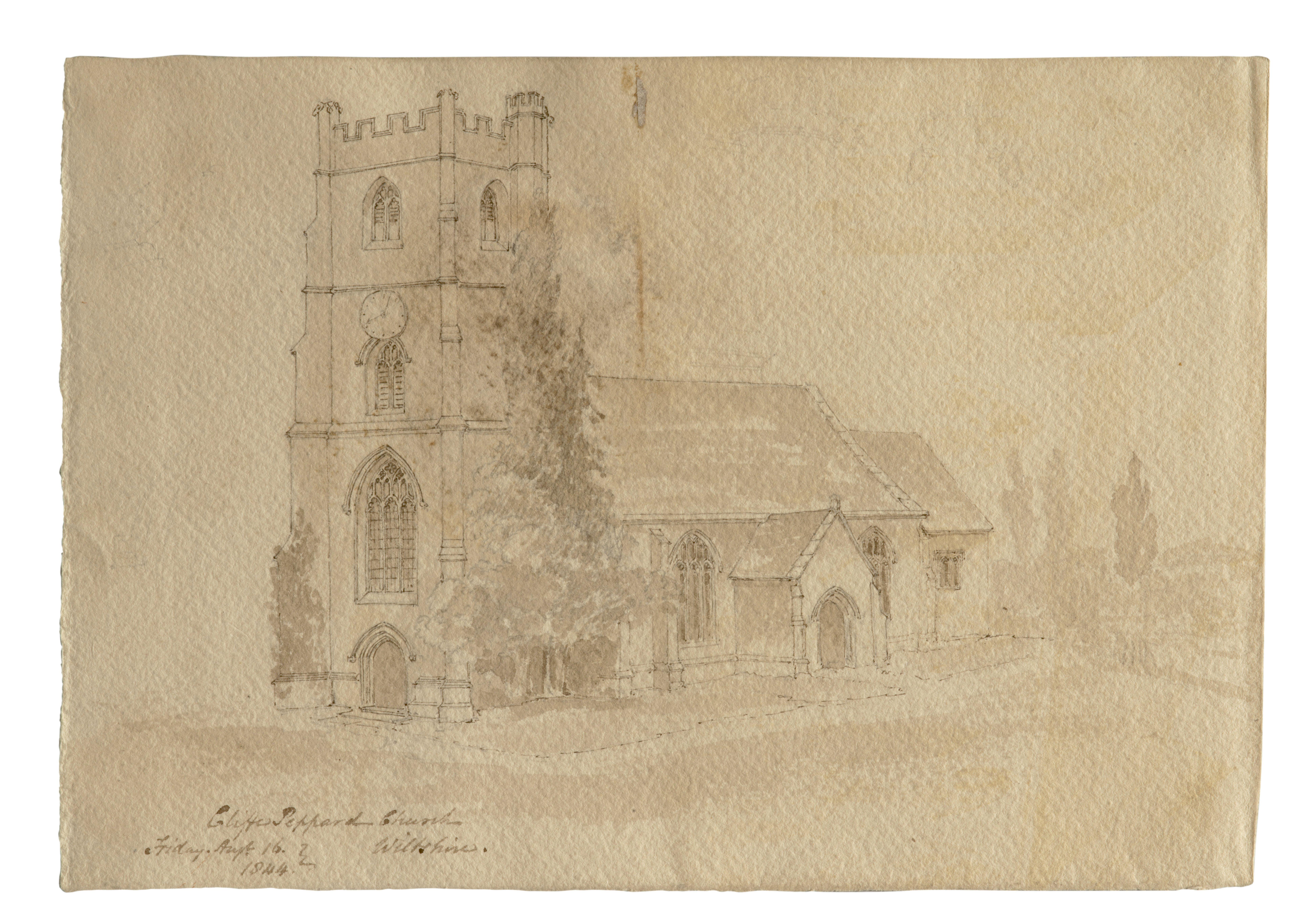 An Antique British School Drawing Clyffe Pypard Church 1844