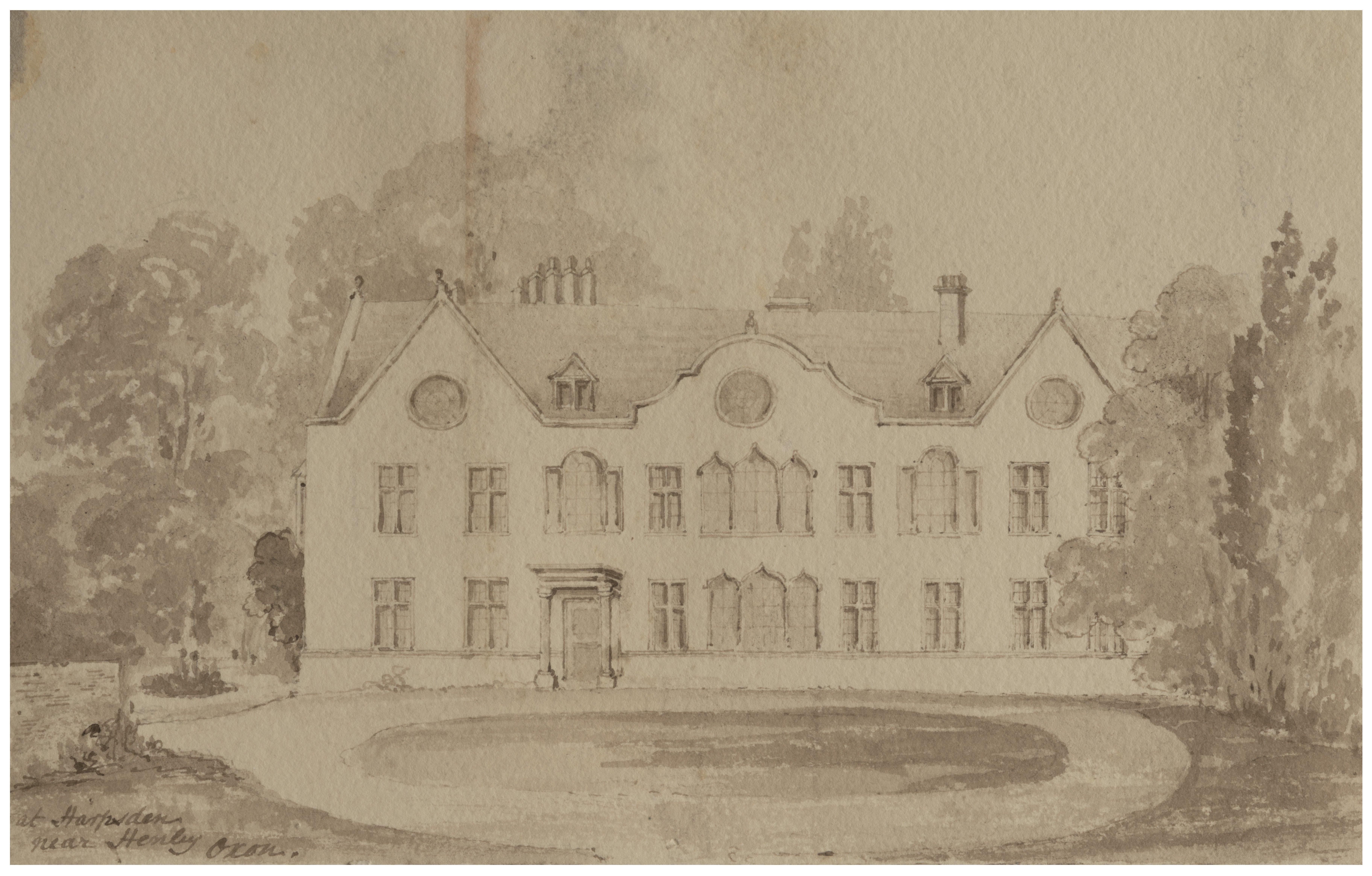 An Antique British School Architectural Drawing Harpsden Near Oxfordshire