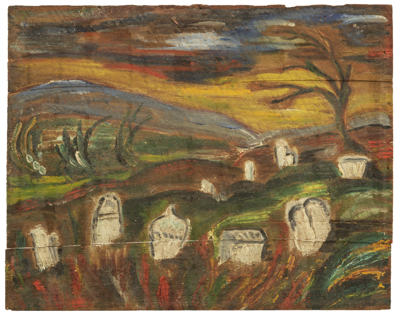 An Antique Folk Art Oil On Panel Cemetery Scene Painting