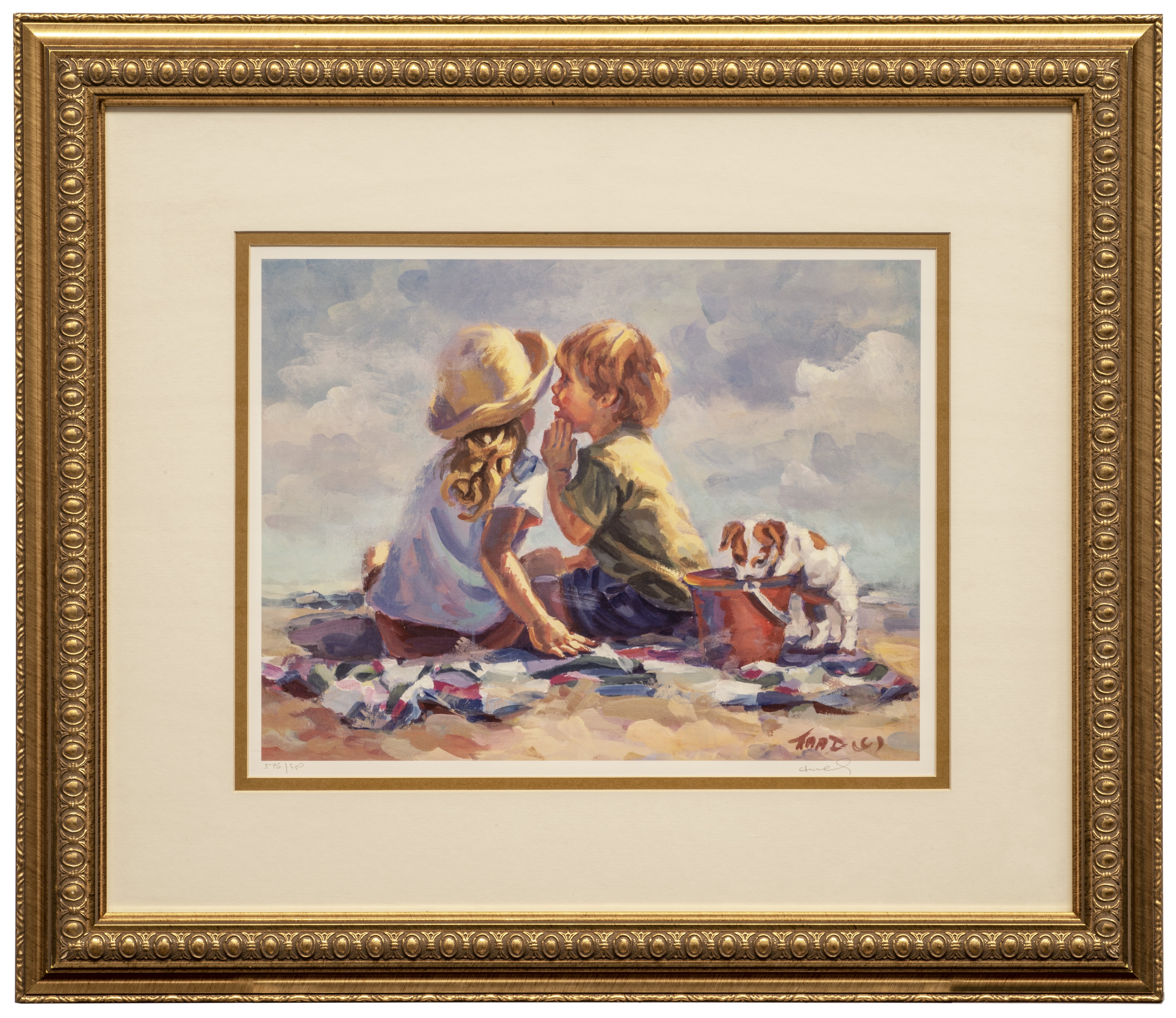 A Framed Offset Lithograph Limited Edition Beach Scene By Lucelle Raad Summer Secrets