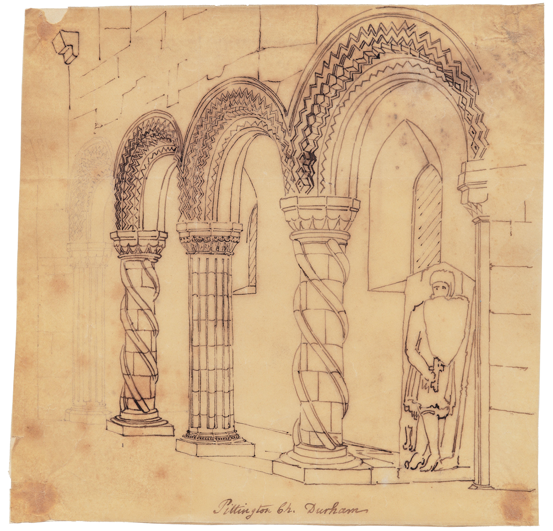 An Antique 18th/19th Century British Architectural Interior Sketch Pittington Ch. Durham
